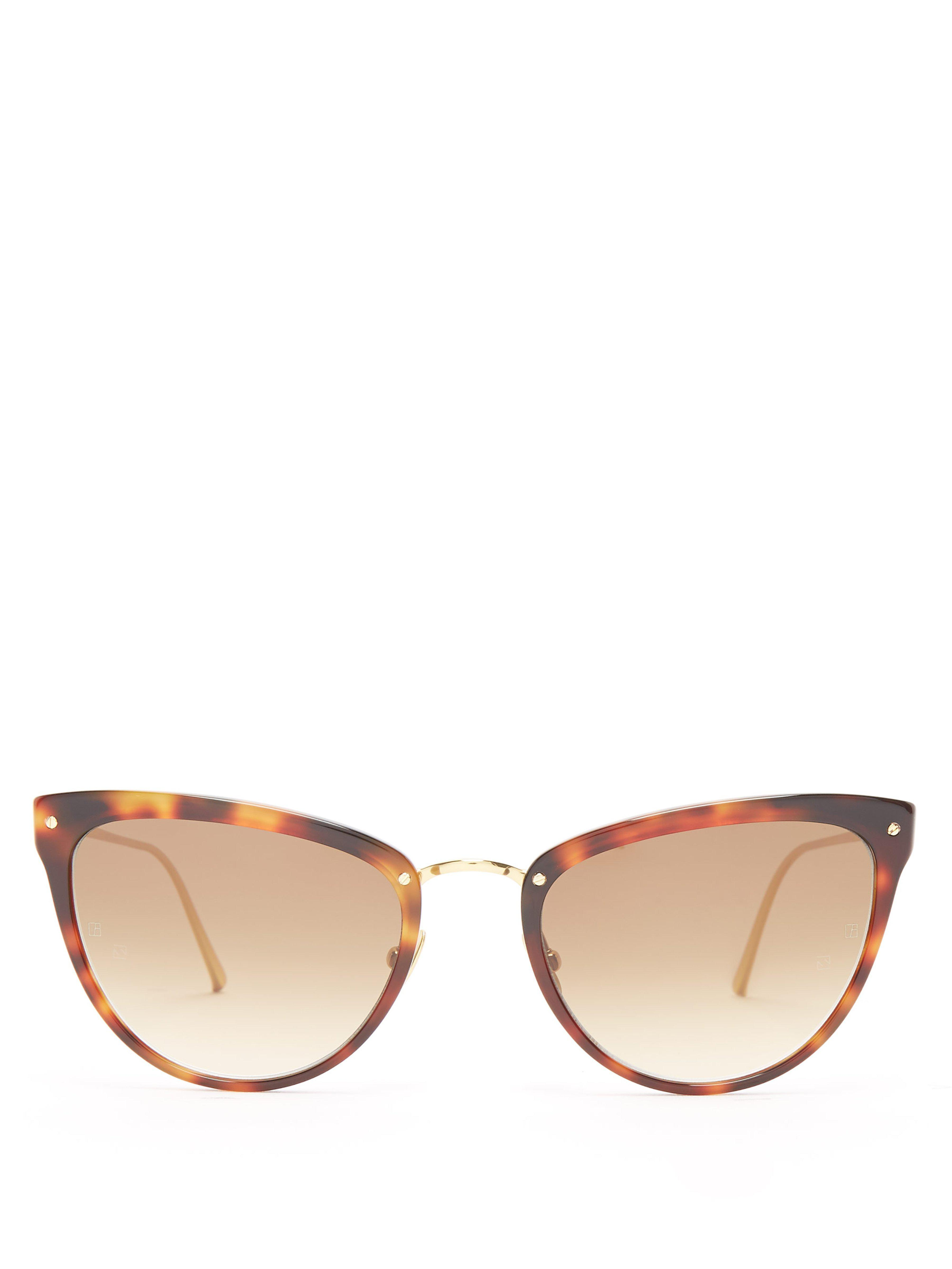 4552675d551f Linda Farrow. Women s Cat Eye Gold Plated Sunglasses