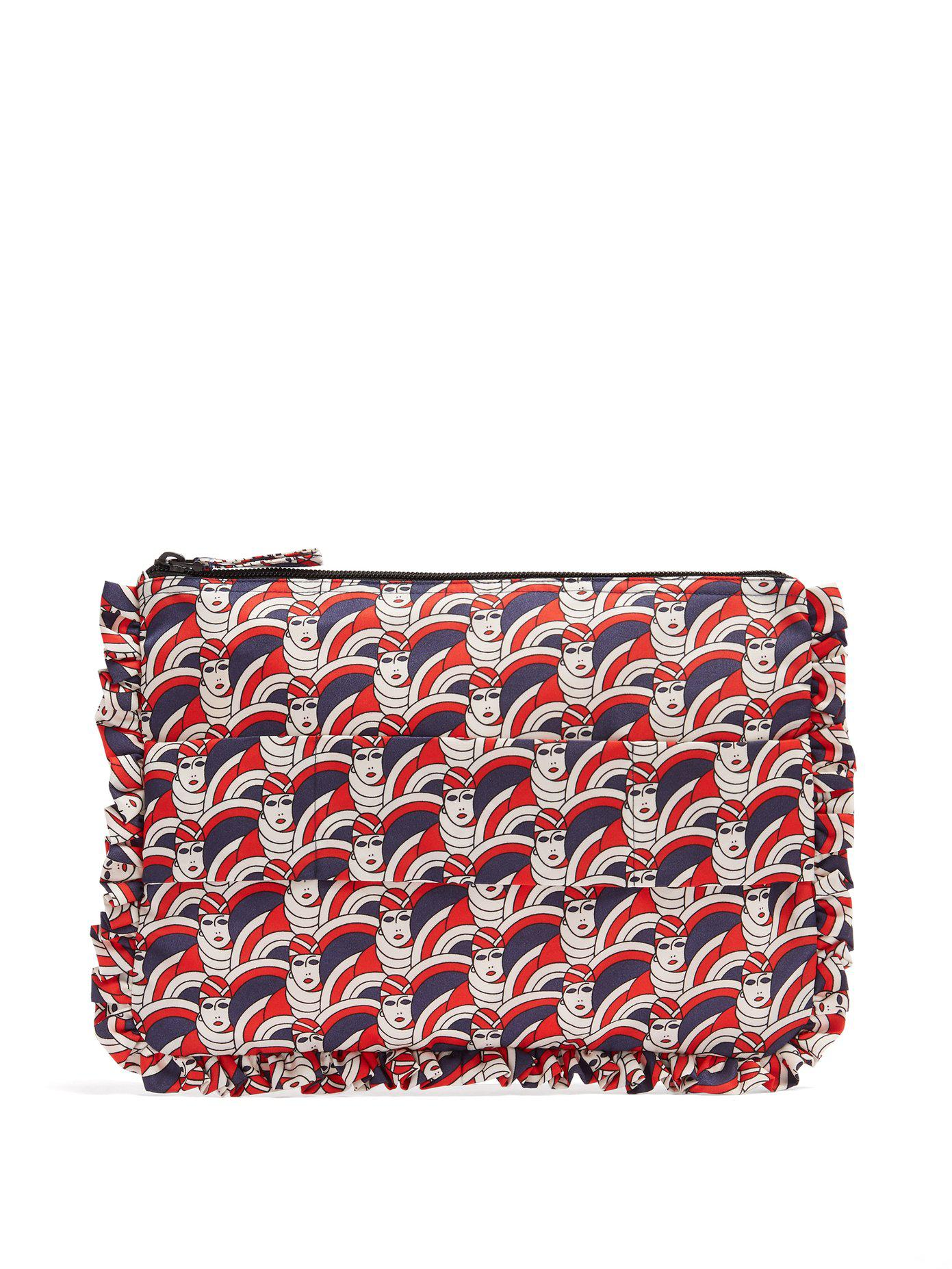 Graphic-print ruffle-trimmed pouch La DoubleJ TKt6FHlBH
