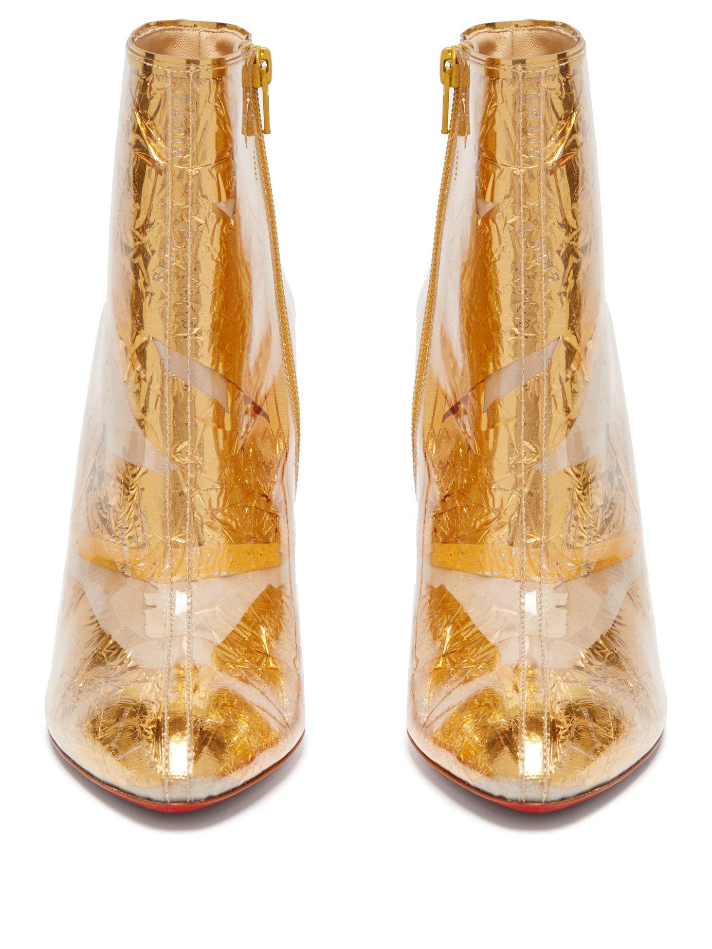 dd7968d16e4 Christian Louboutin - Booty Cap 100 Pvc And Metallic Crinkled-foil Ankle  Boots - Lyst. View fullscreen