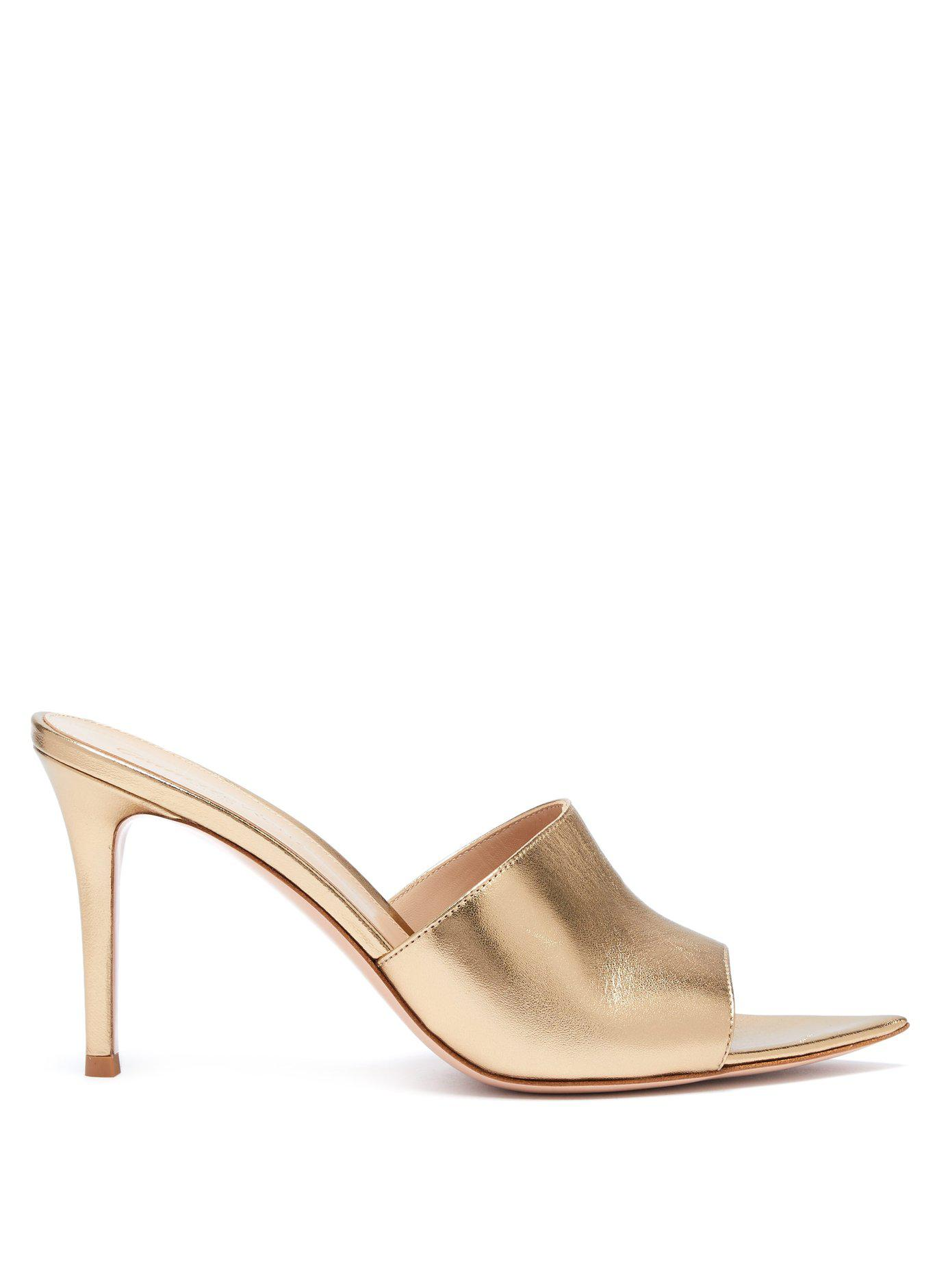 7b2a9195209c Lyst - Gianvito Rossi Alise 85 Grained Leather Mules in Metallic