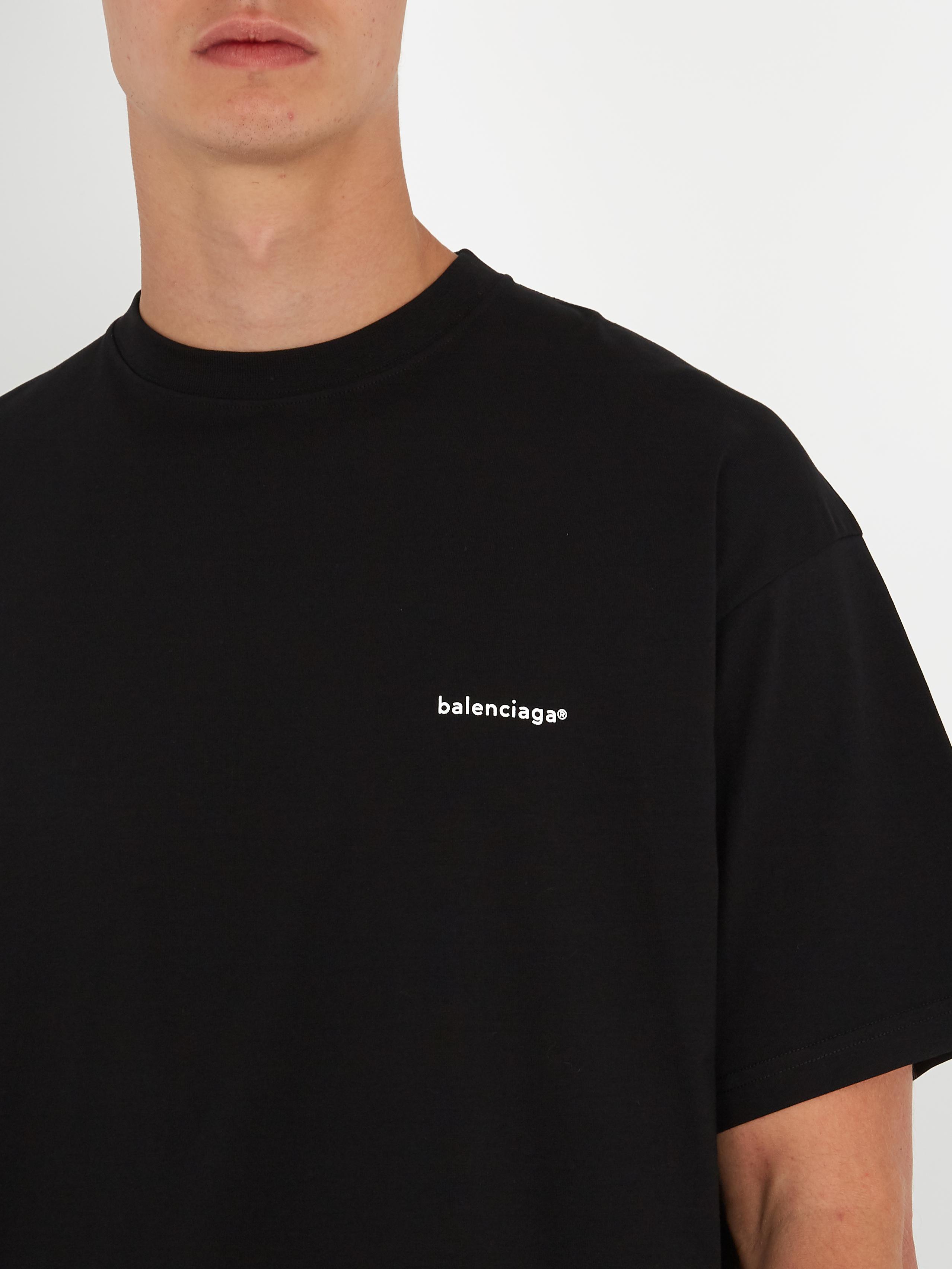 f2478f58f Balenciaga Oversized Logo-print Cotton T-shirt in Black for Men - Lyst