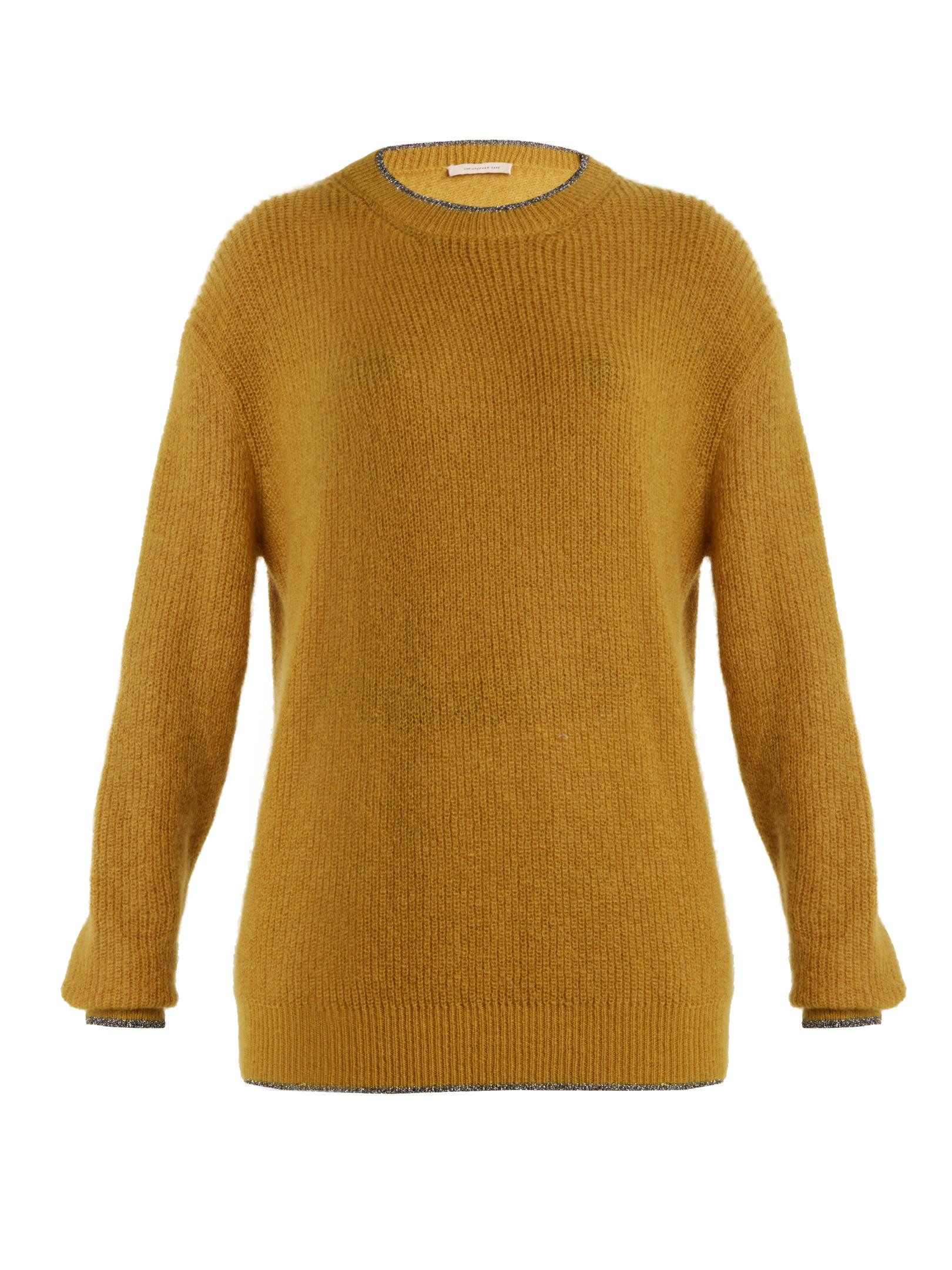Christopher kane Contrast-trim Round-neck Sweater in Yellow | Lyst