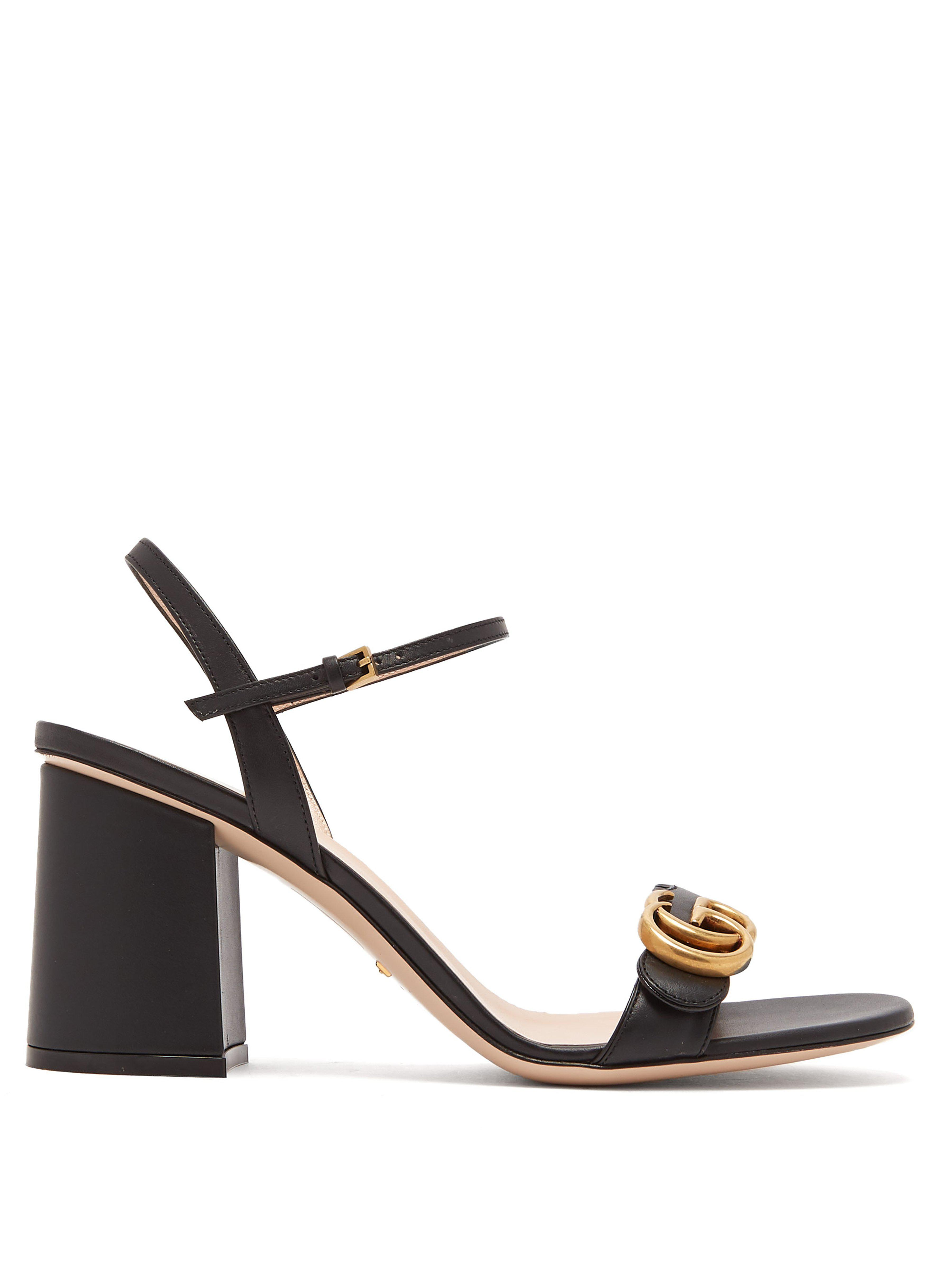 6e32e030fac3 Gucci Marmont Embellished Leather Sandals in Black - Save 10% - Lyst