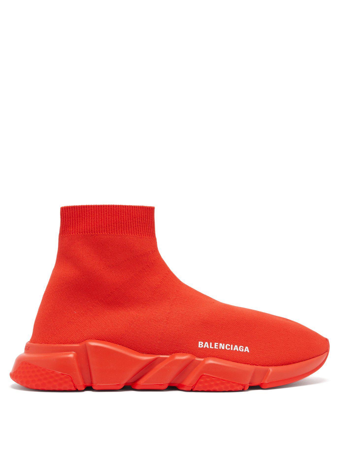 d59906295d7f Balenciaga - Red Speed Sock Trainers for Men - Lyst. View fullscreen