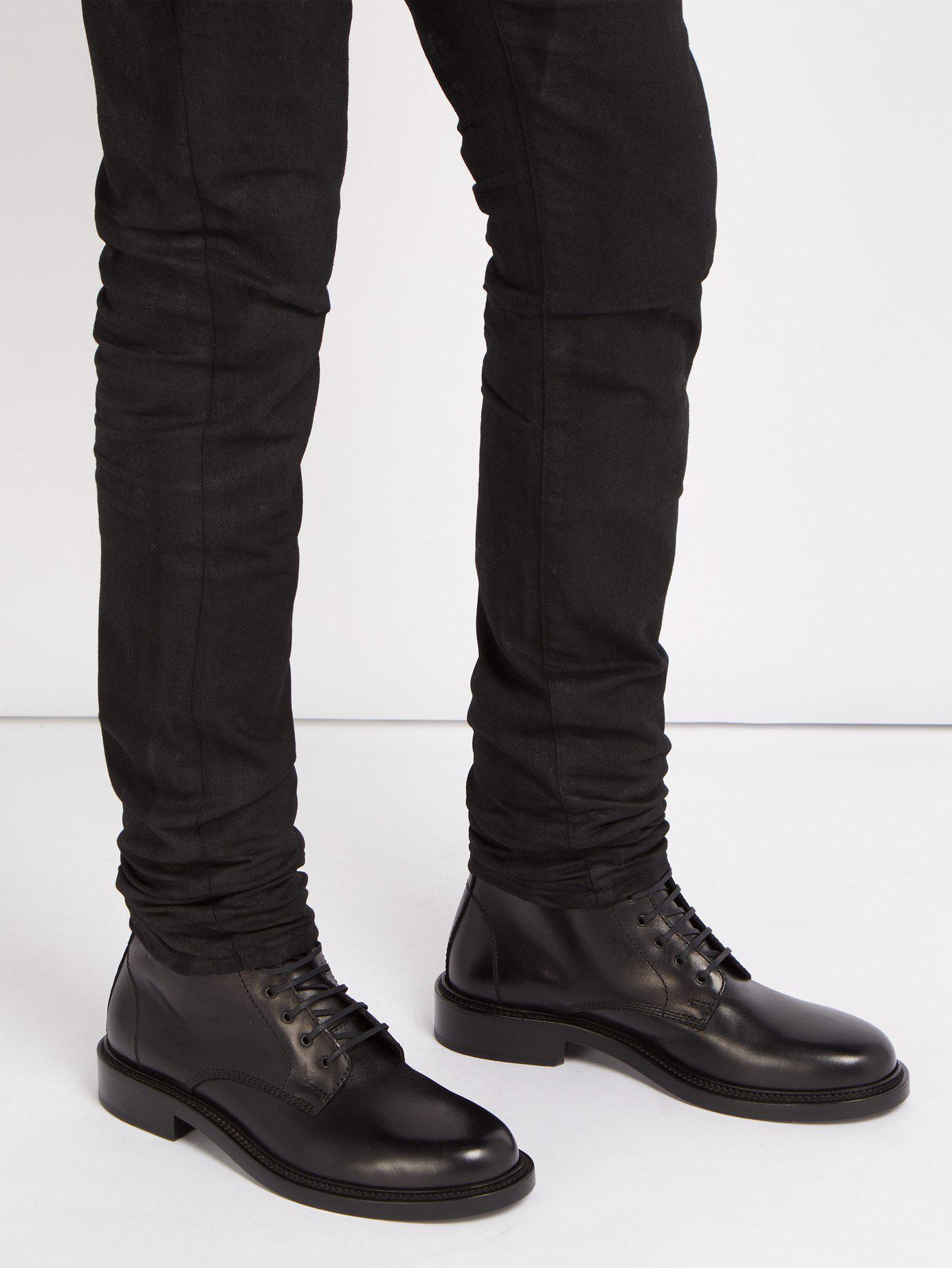 b10c93448f1 Saint Laurent Timothy Lace Up Leather Boots in Black for Men - Lyst