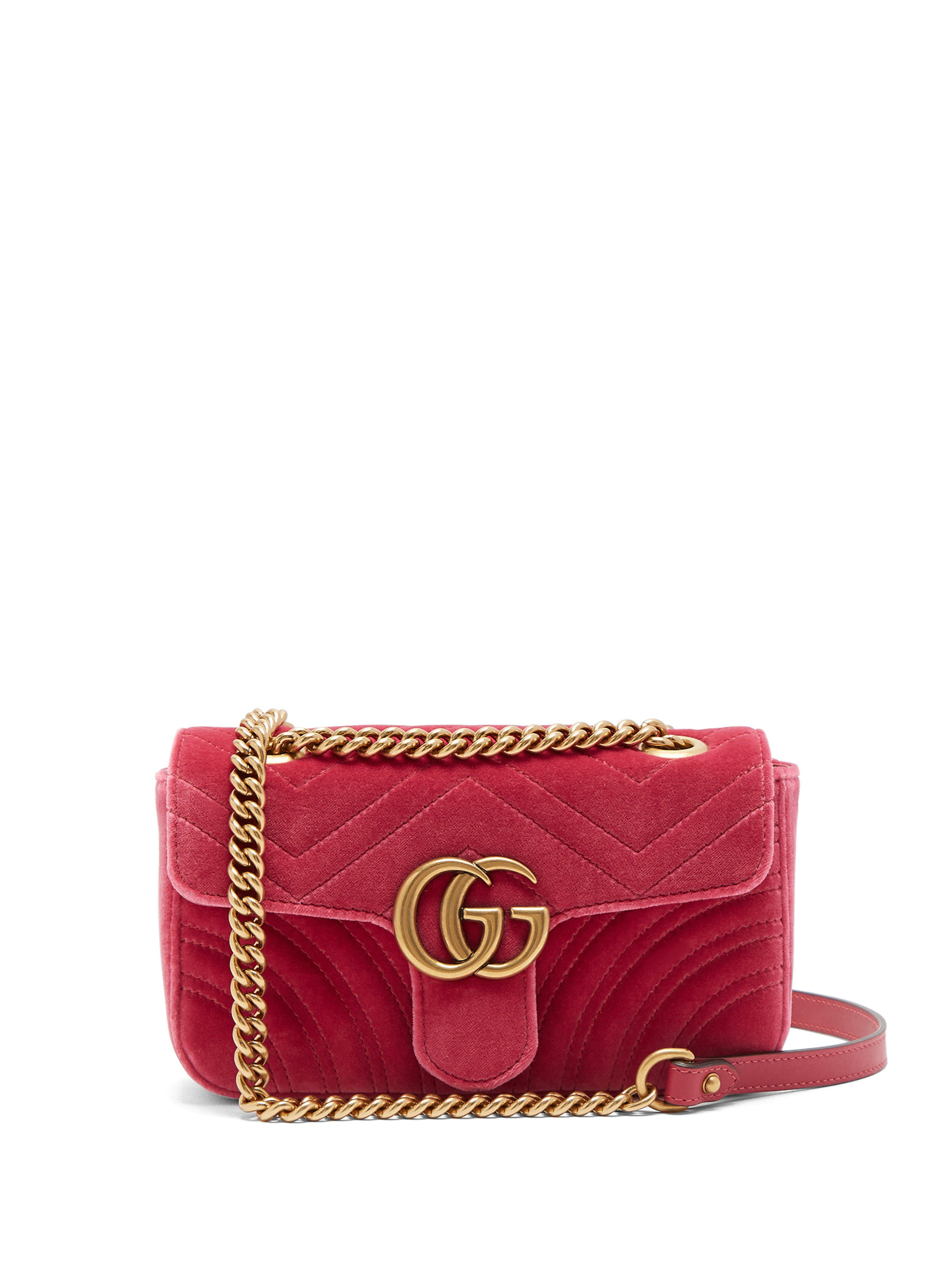 22f3237f28b Gucci GG Marmont Velvet Shoulder Bag in Pink - Save 13% - Lyst