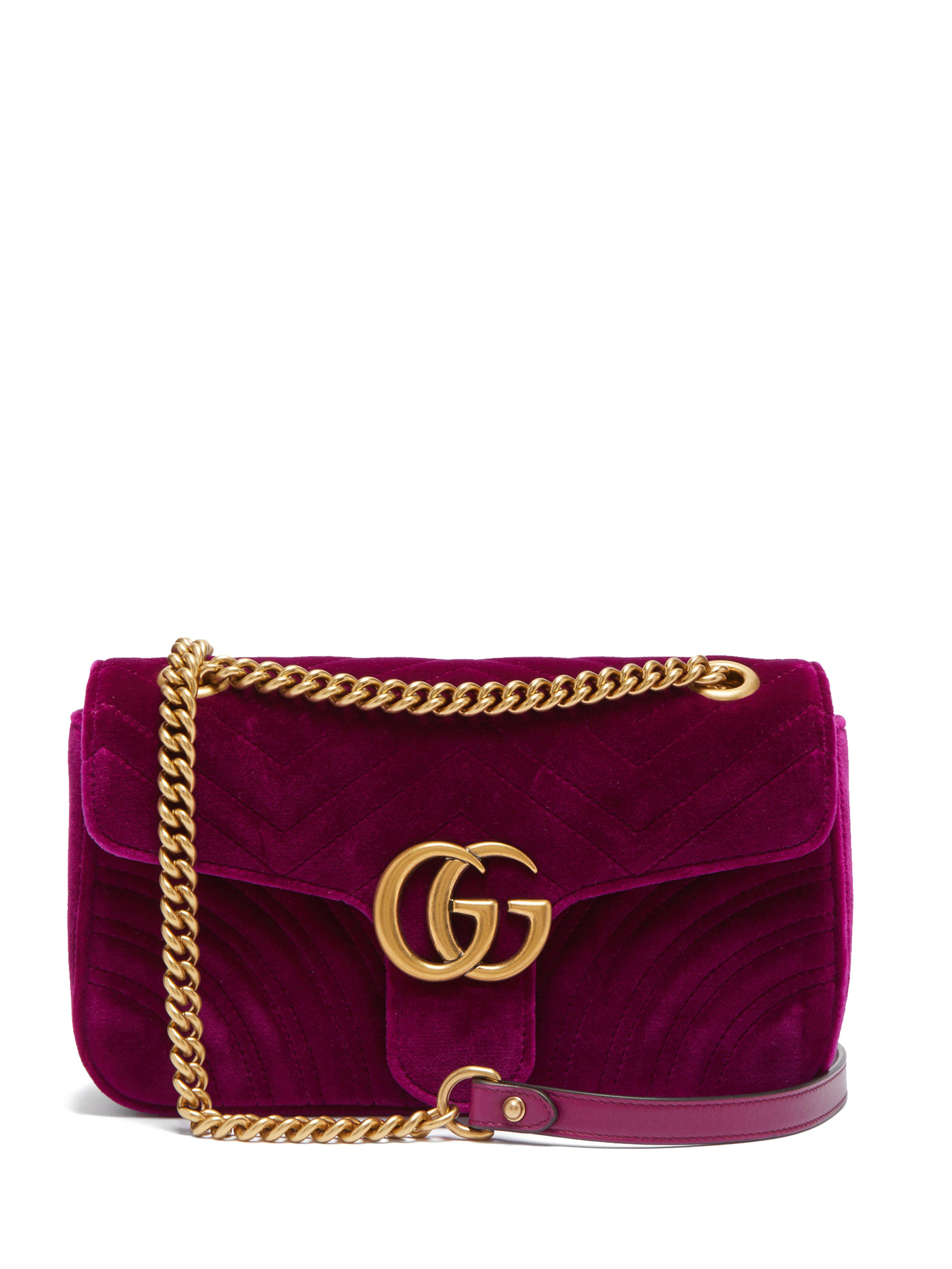 d24cc80557b6 Gucci Gg Marmont Small Quilted Velvet Cross Body Bag - Save 24% - Lyst