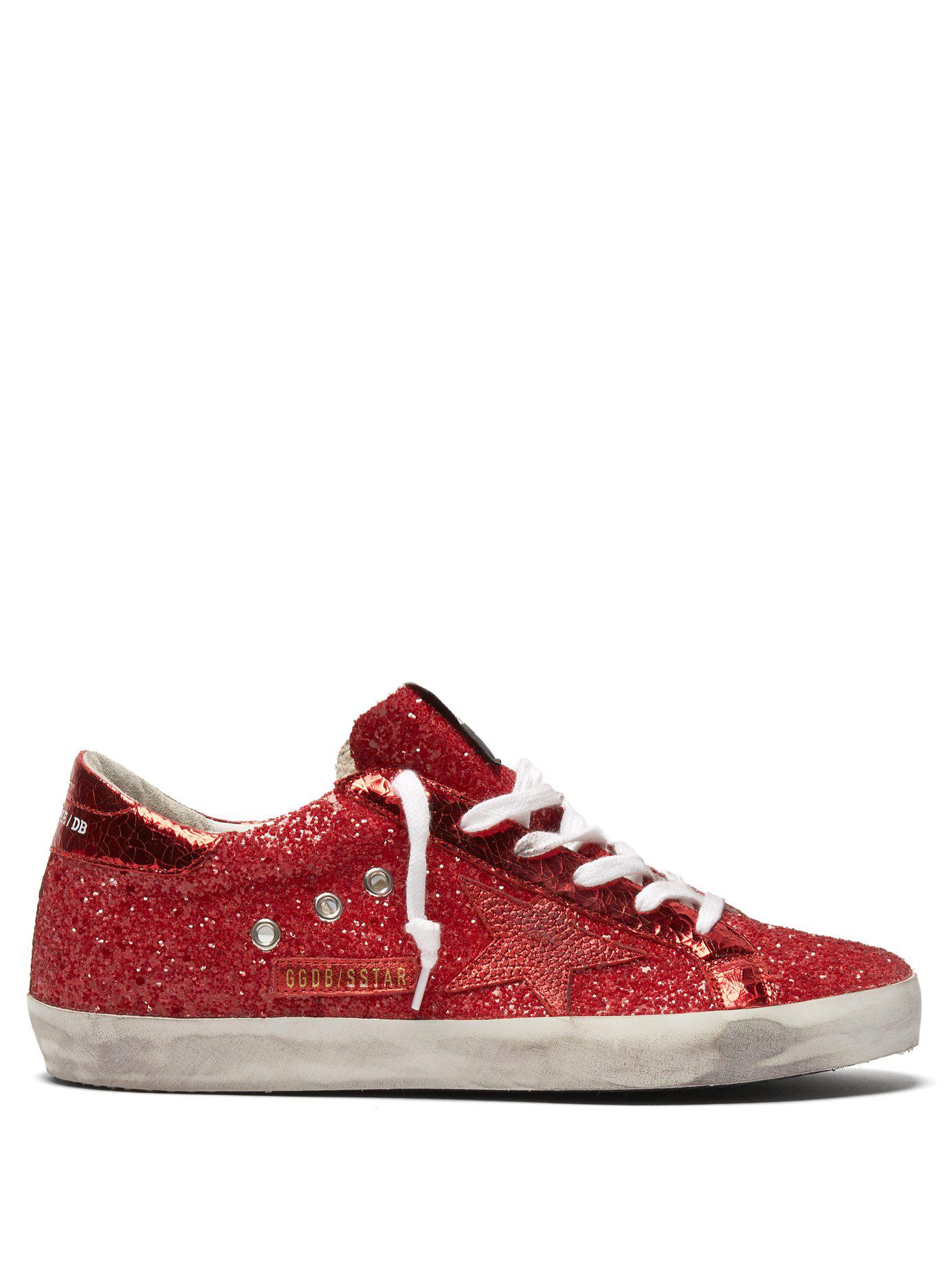 faf05f990132 Lyst - Golden Goose Deluxe Brand Super Star Glitter Low Top Leather ...
