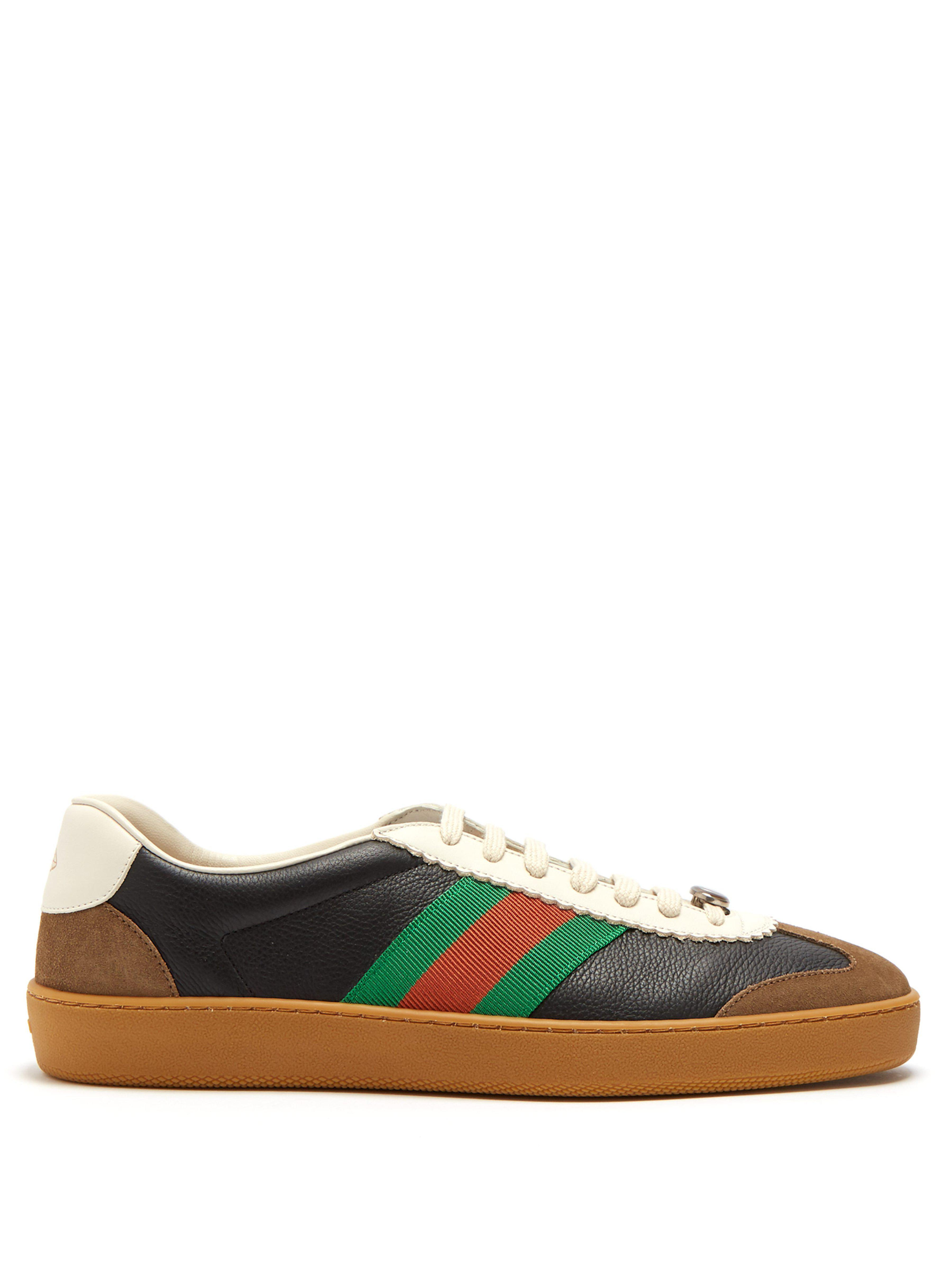 ba5c6dc77069f Gucci Leather And Suede Web Trainers in Black for Men - Save 10% - Lyst