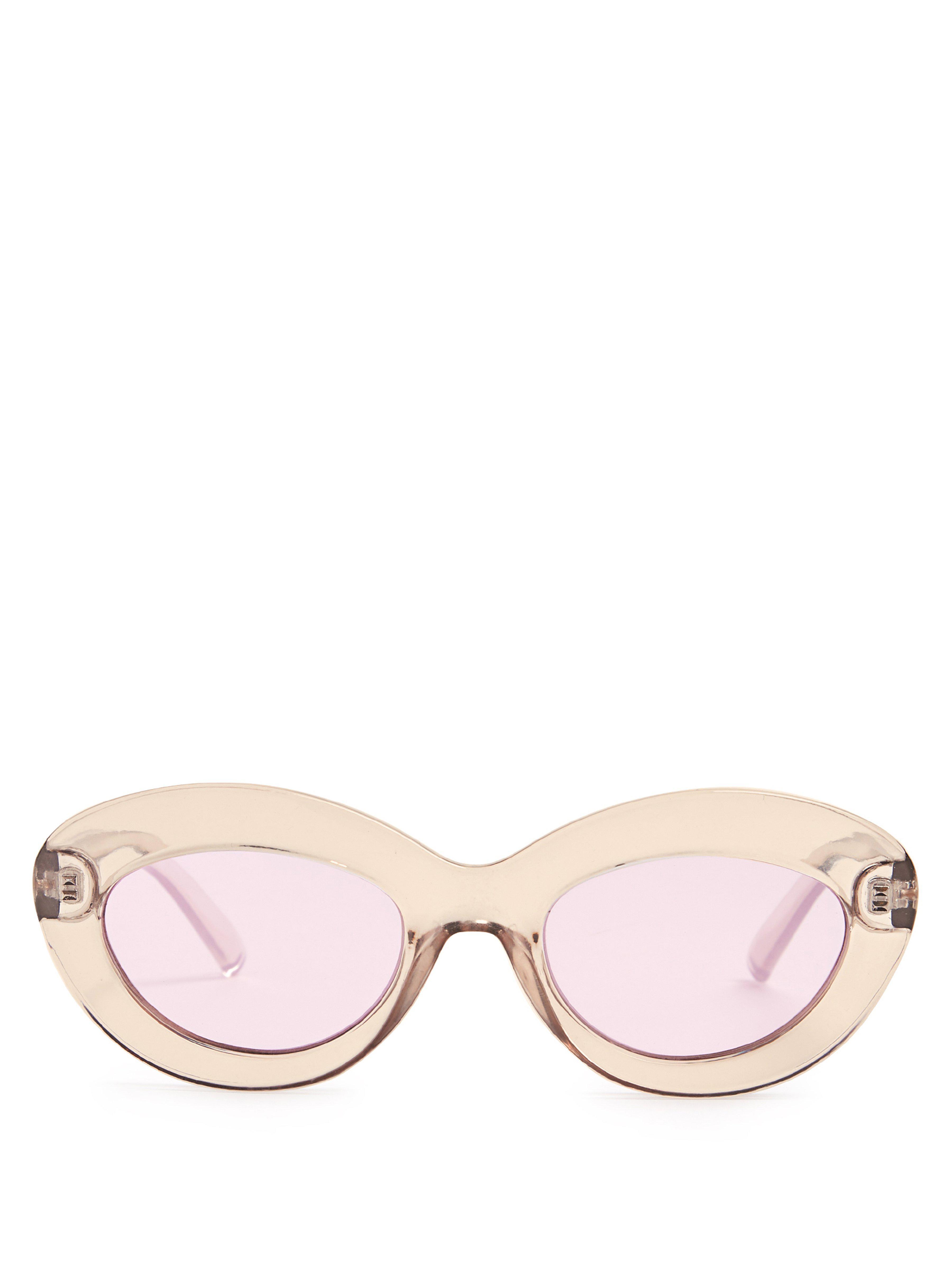 deda8492514 Le Specs Fluxus Oval Cat Eye Acetate Sunglasses - Lyst