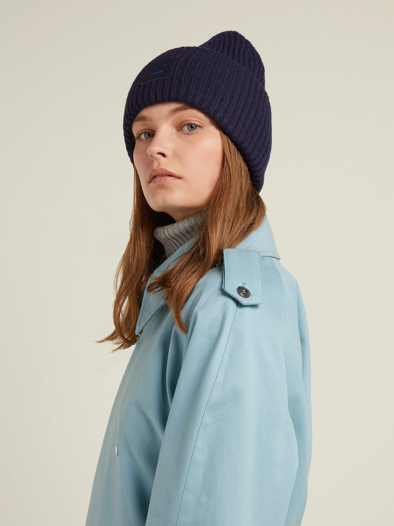 a62ac13c54e Lyst - Acne Studios Pansy S Face Ribbed Knit Beanie Hat in Blue