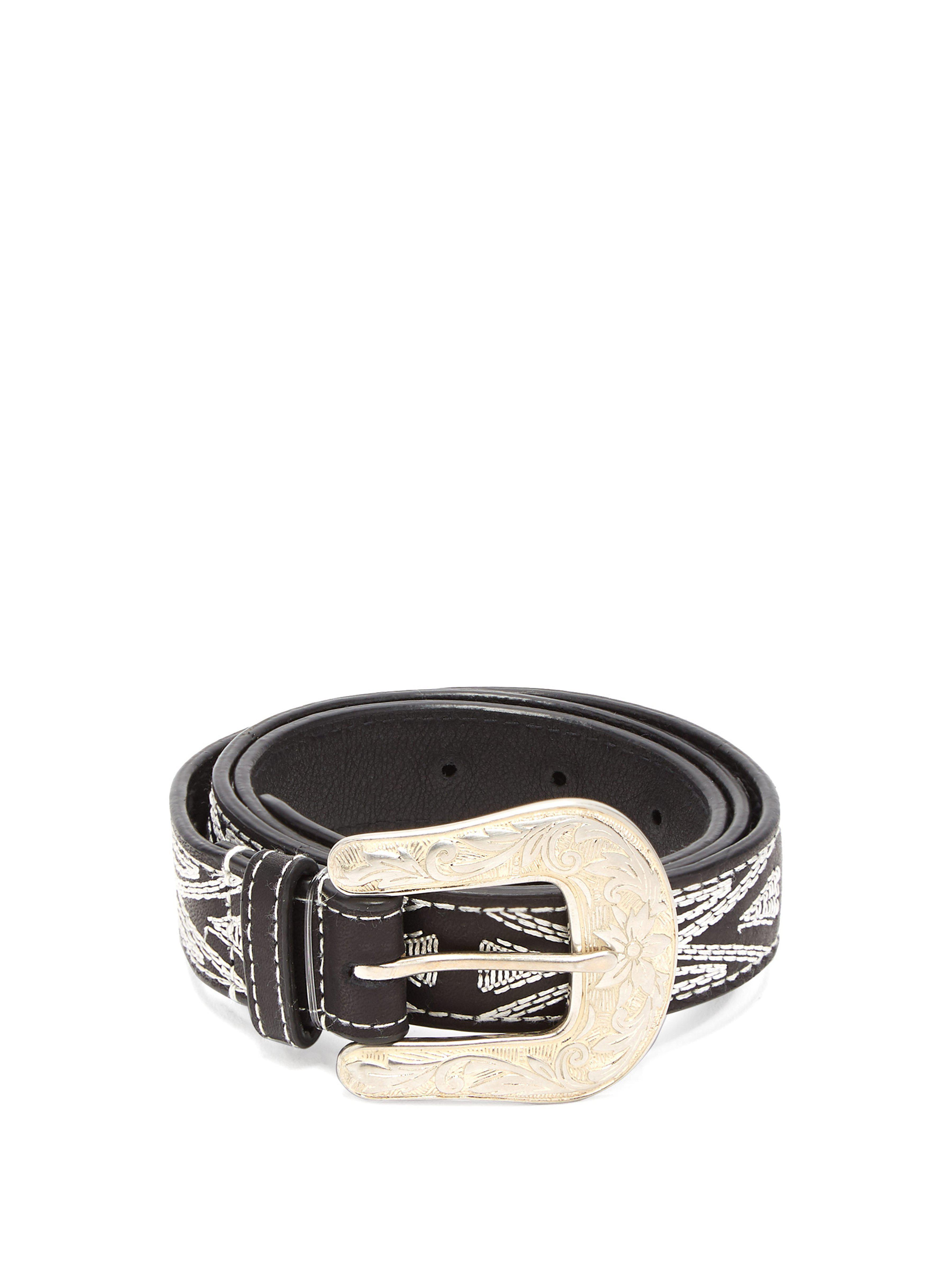 4508dabf3d67 Isabel Marant Tety Topstitched Leather Belt in Black - Lyst