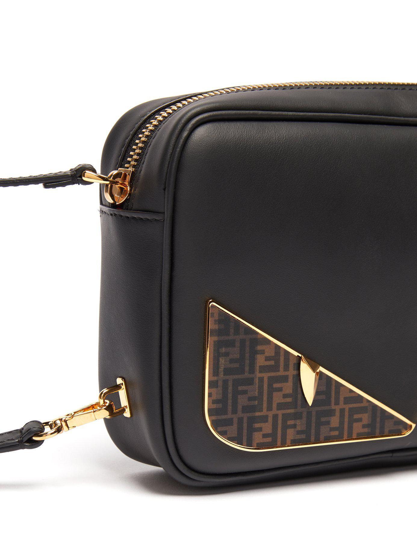 Lyst - Fendi Bag Bugs Logo Eyes Leather Camera Bag in Black for Men ... 374a1b21b06c5