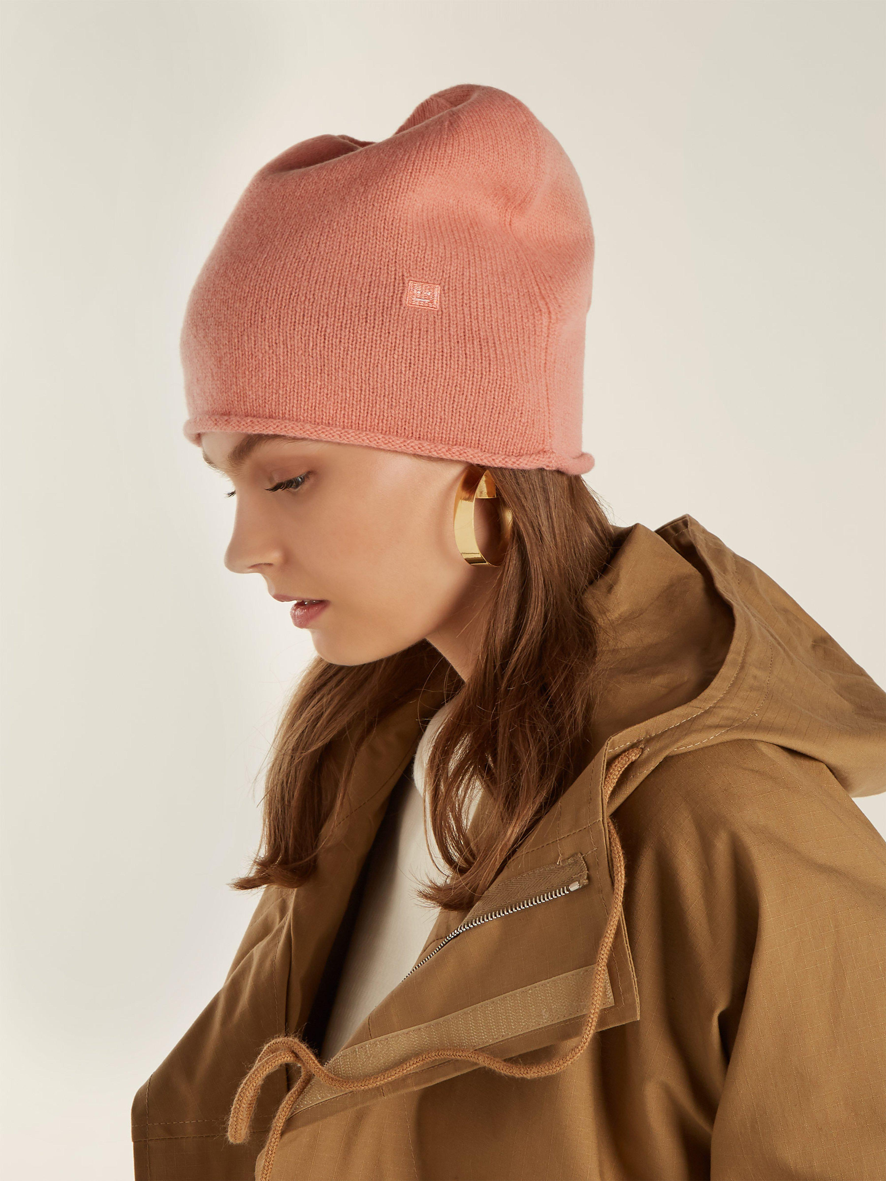19d3d4fa9af Acne Pansy S Face Wool Beanie Hat in Pink - Lyst