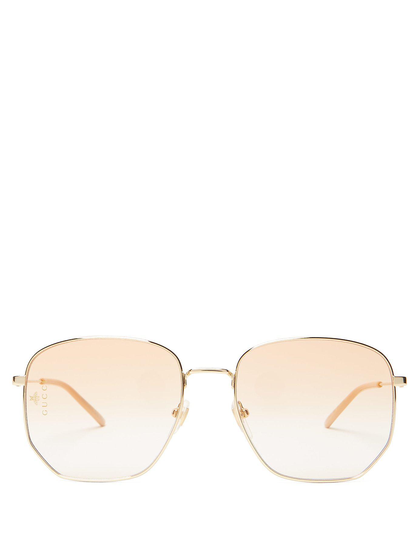 edad075bcb Lyst - Gucci Square Frame Metal Glasses in Metallic for Men