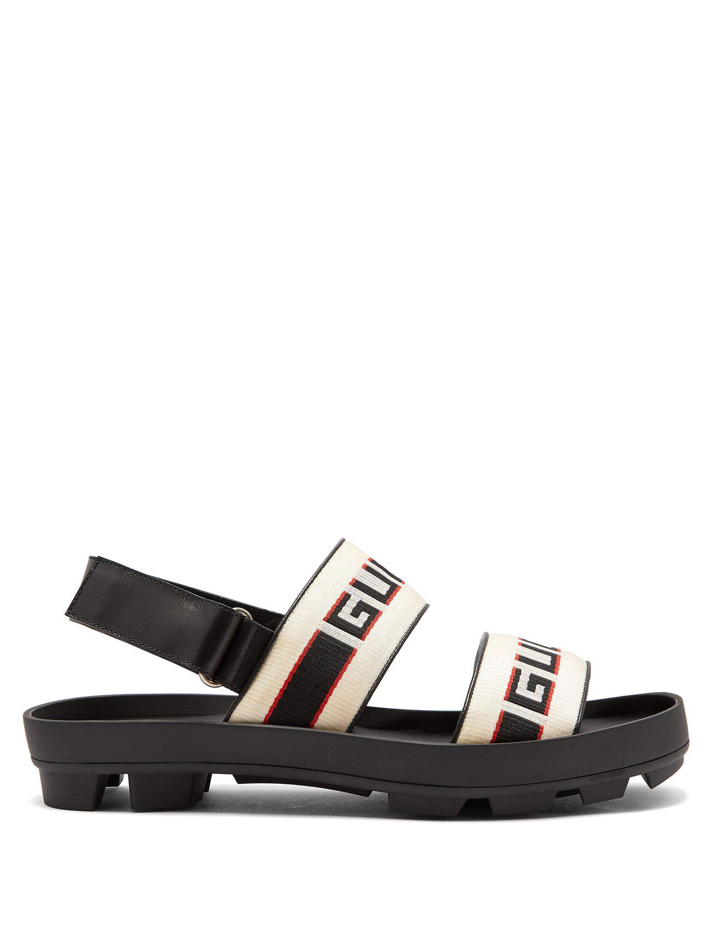 d7336bdc795 Gucci Stripe Strap Sandal in Black for Men - Lyst