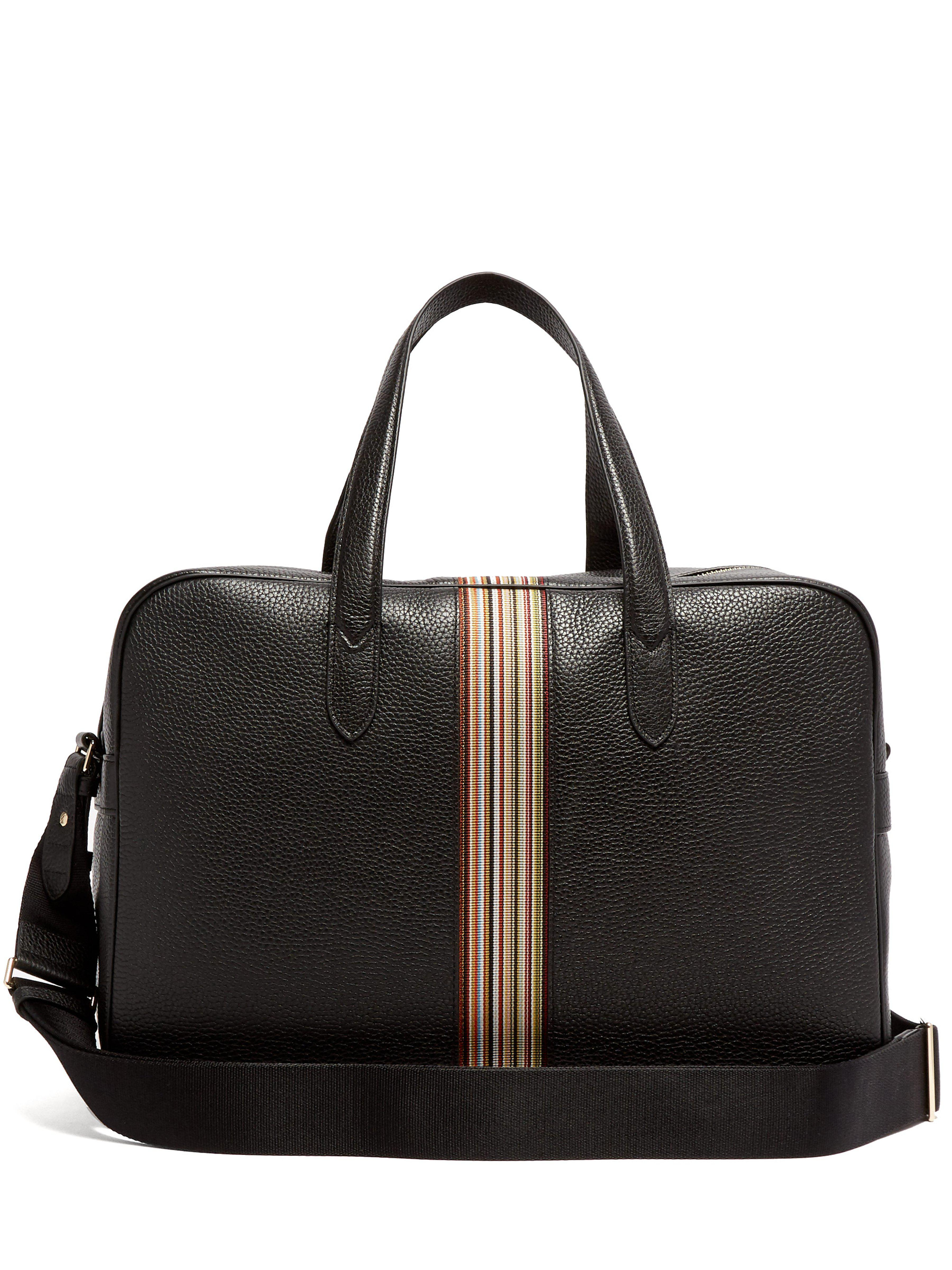 Paul Smith Signature Stripe Leather Weekend Bag in Black for Men - Lyst 50c697d490e2a