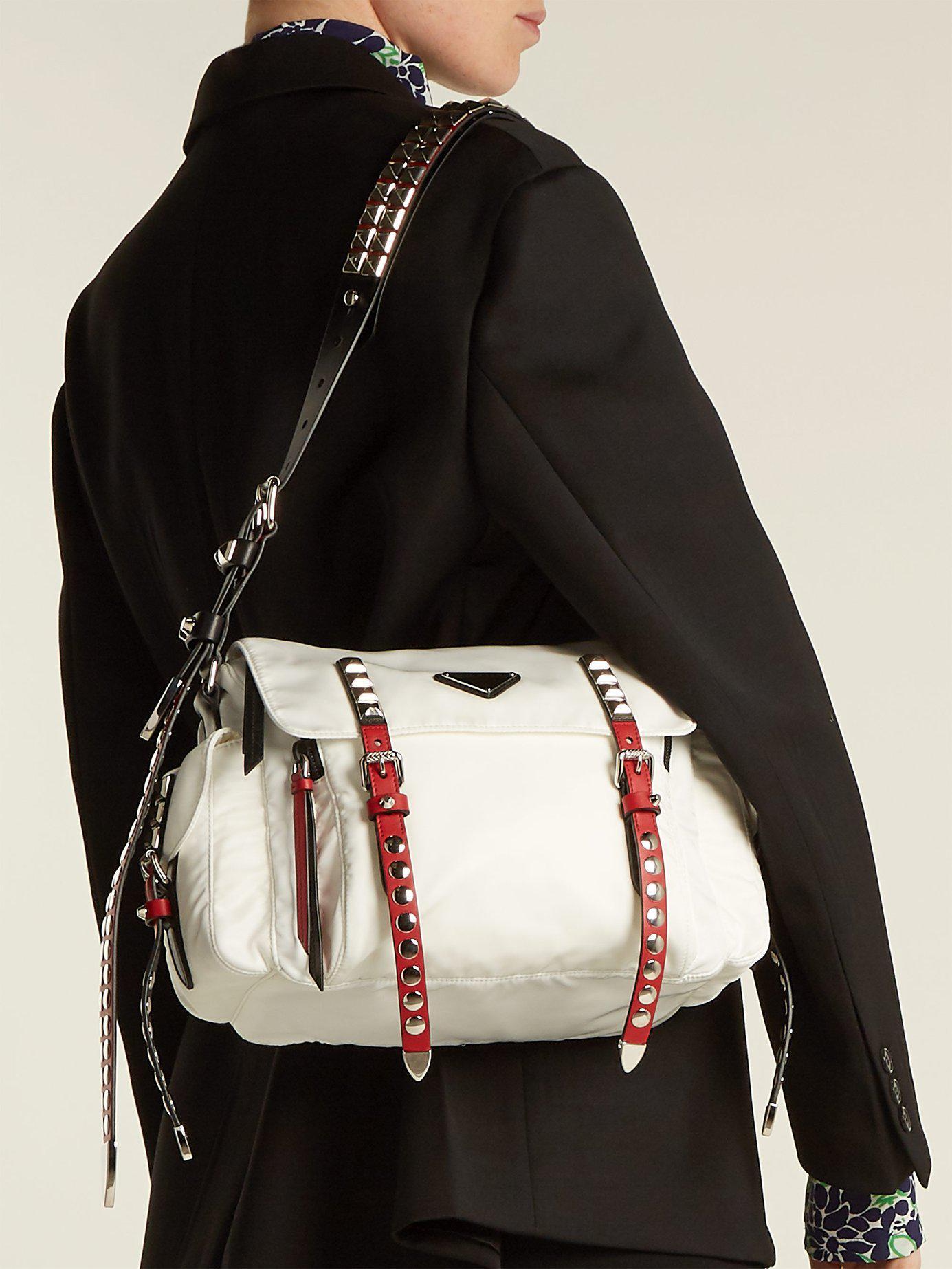 7e8892ae1dd533 Prada - White Vela Leather Trimmed Cross Body Bag - Lyst. View fullscreen