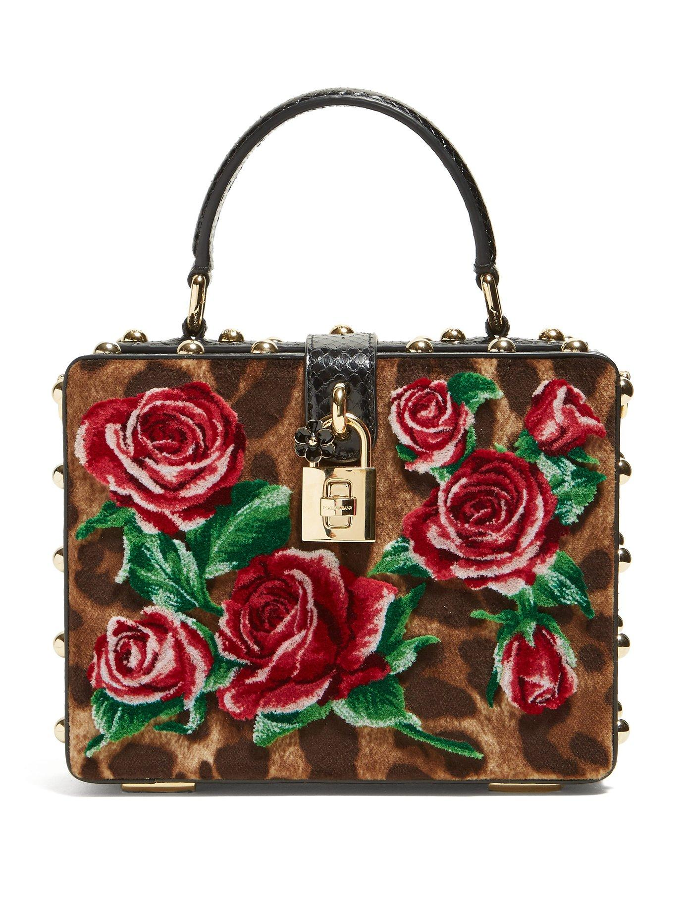 066bb520a17b Lyst - Dolce   Gabbana Leopard Print And Roses Velvet Box Bag