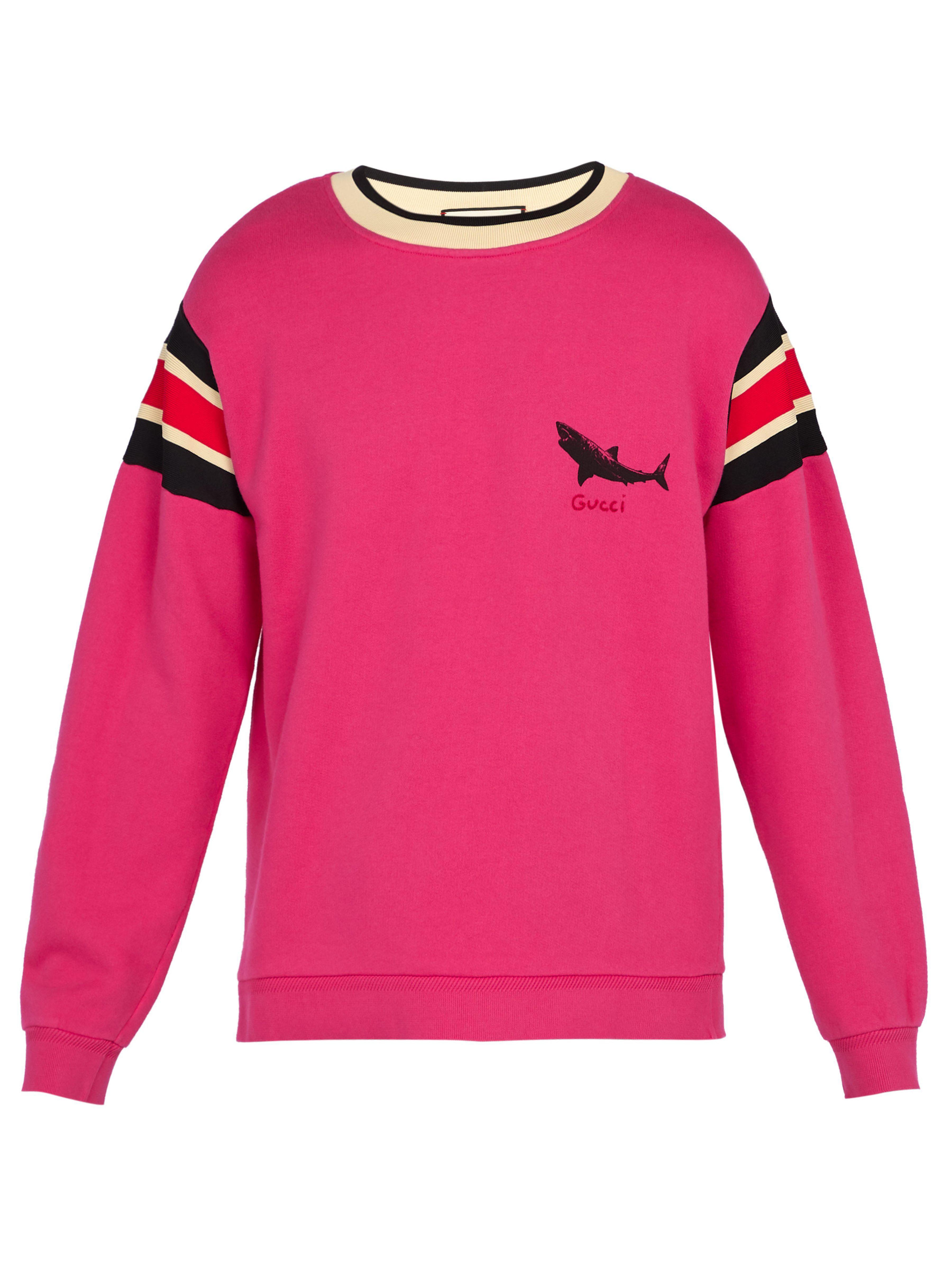 42cafdaf2f0 Gucci - Pink Shark Print Cotton Sweatshirt for Men - Lyst. View fullscreen