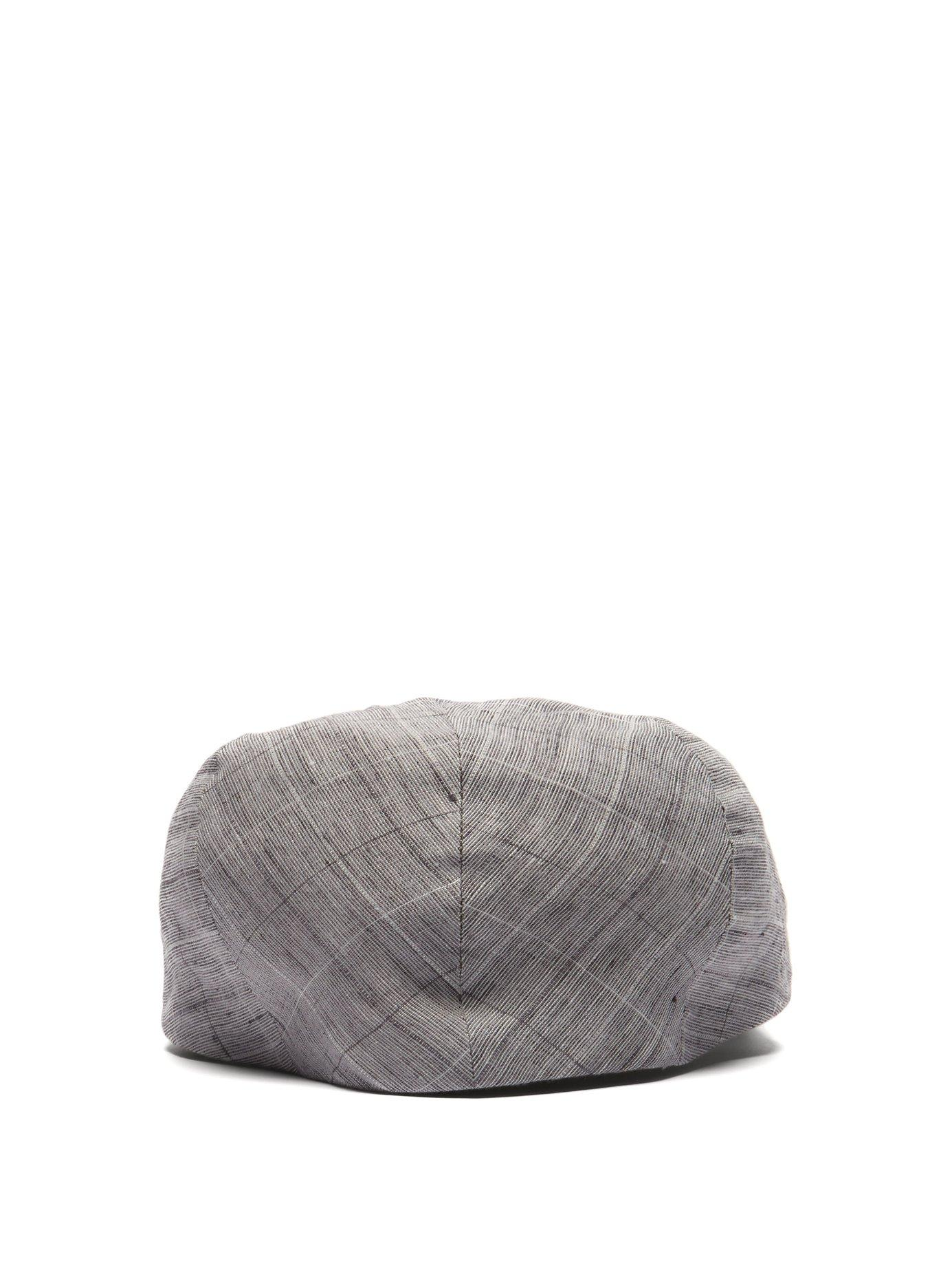 5f894b47a1d Lyst - Lock   Co. Drifter Graph Checked Slubbed Linen Flat Cap in Gray for  Men