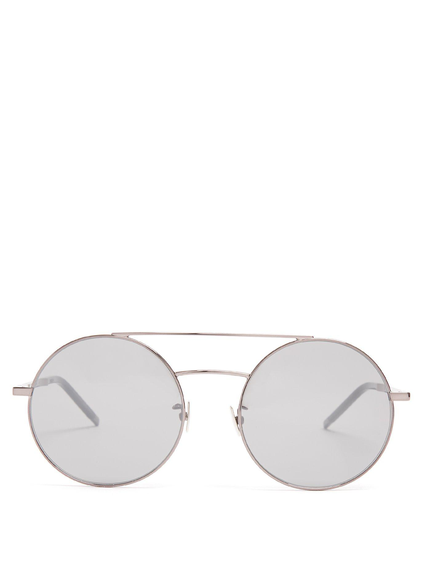 5b5040d2e6b Lyst - Saint Laurent Round-frame Sunglasses in Metallic