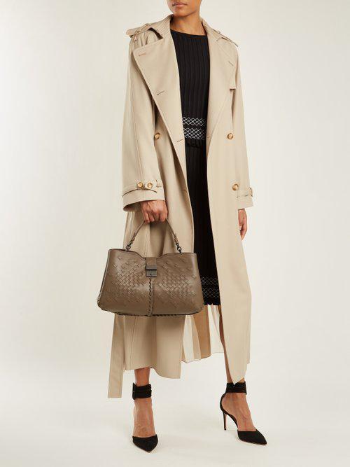 Bottega Veneta Napoli Medium Intrecciato Leather Bag in Gray - Lyst 4c581024d4d95