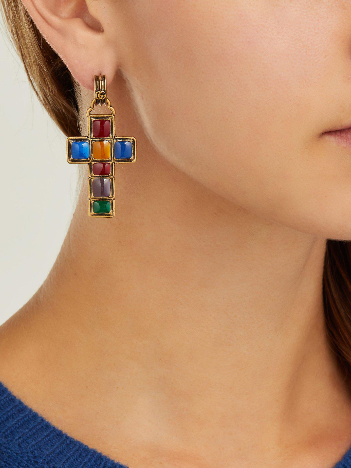 0c846c3a2d0 Gucci - Blue Enamelled Cross Earrings - Lyst. View fullscreen