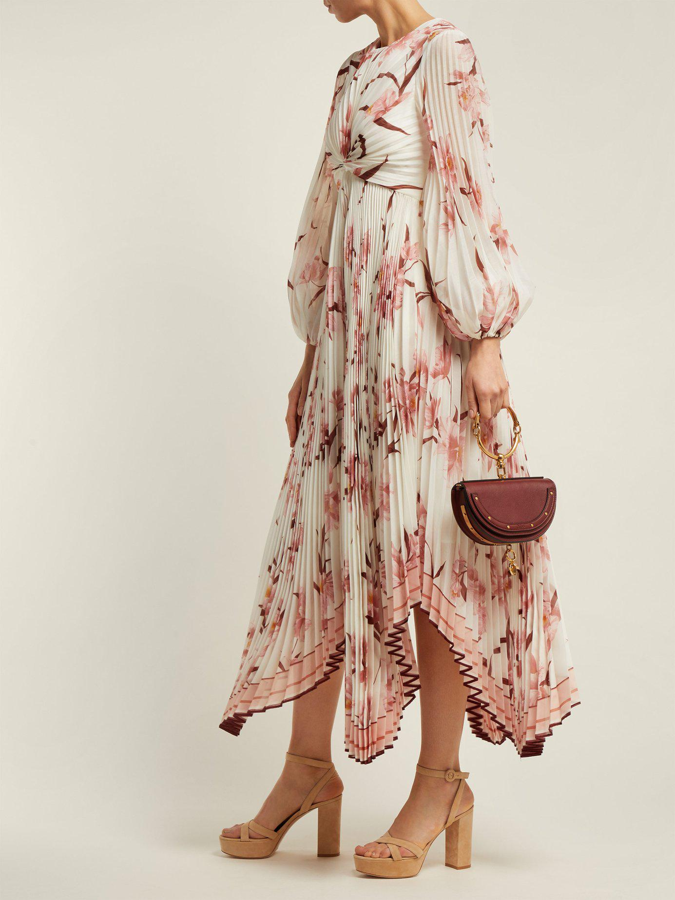 54d4002e34 Lyst - Zimmermann Corsage Orchid Print Pleated Midi Dress in Pink