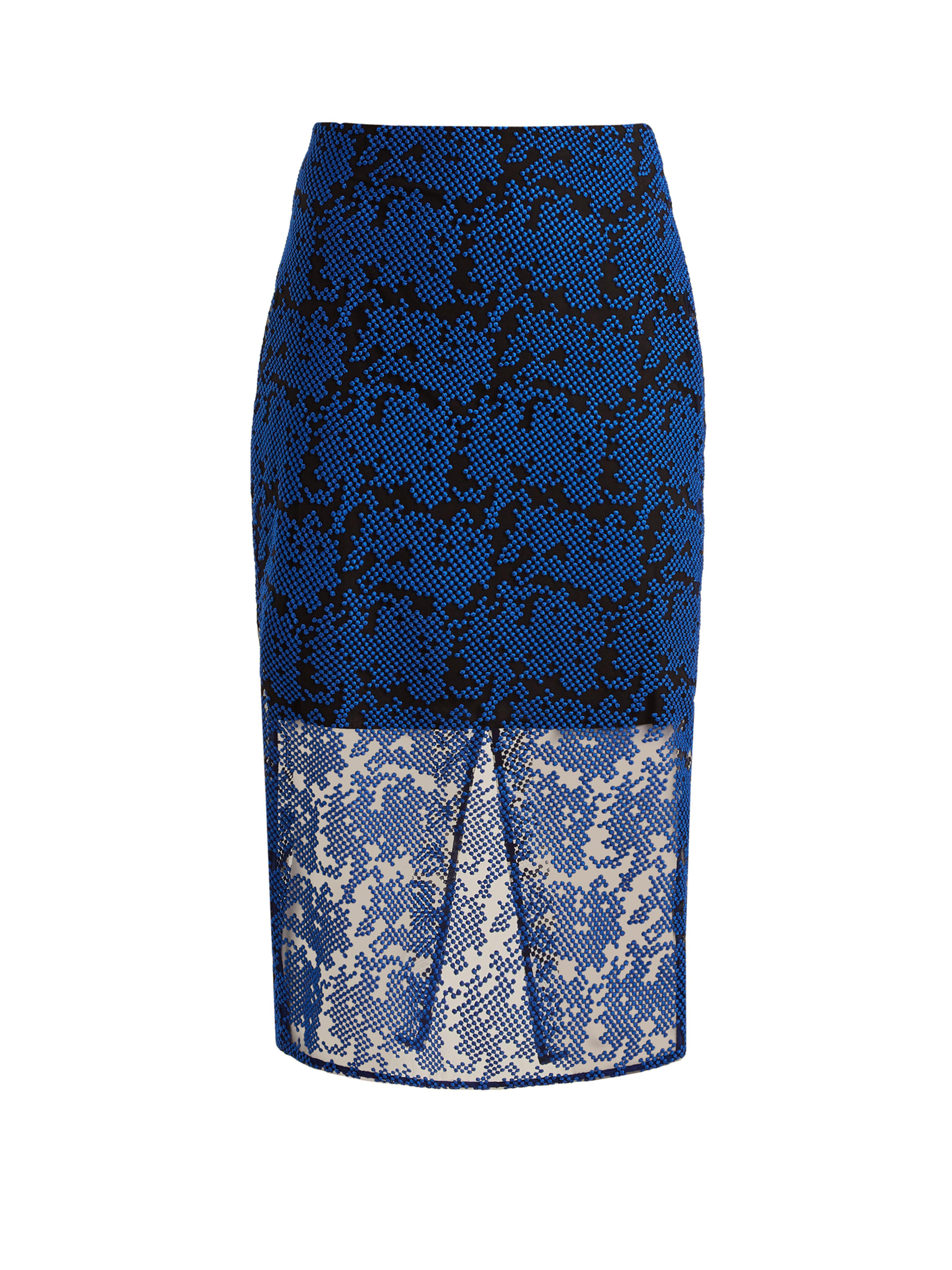8f0de8e86 Diane von Furstenberg. Women's Blue Geometric Embroidered Tulle Pencil Skirt