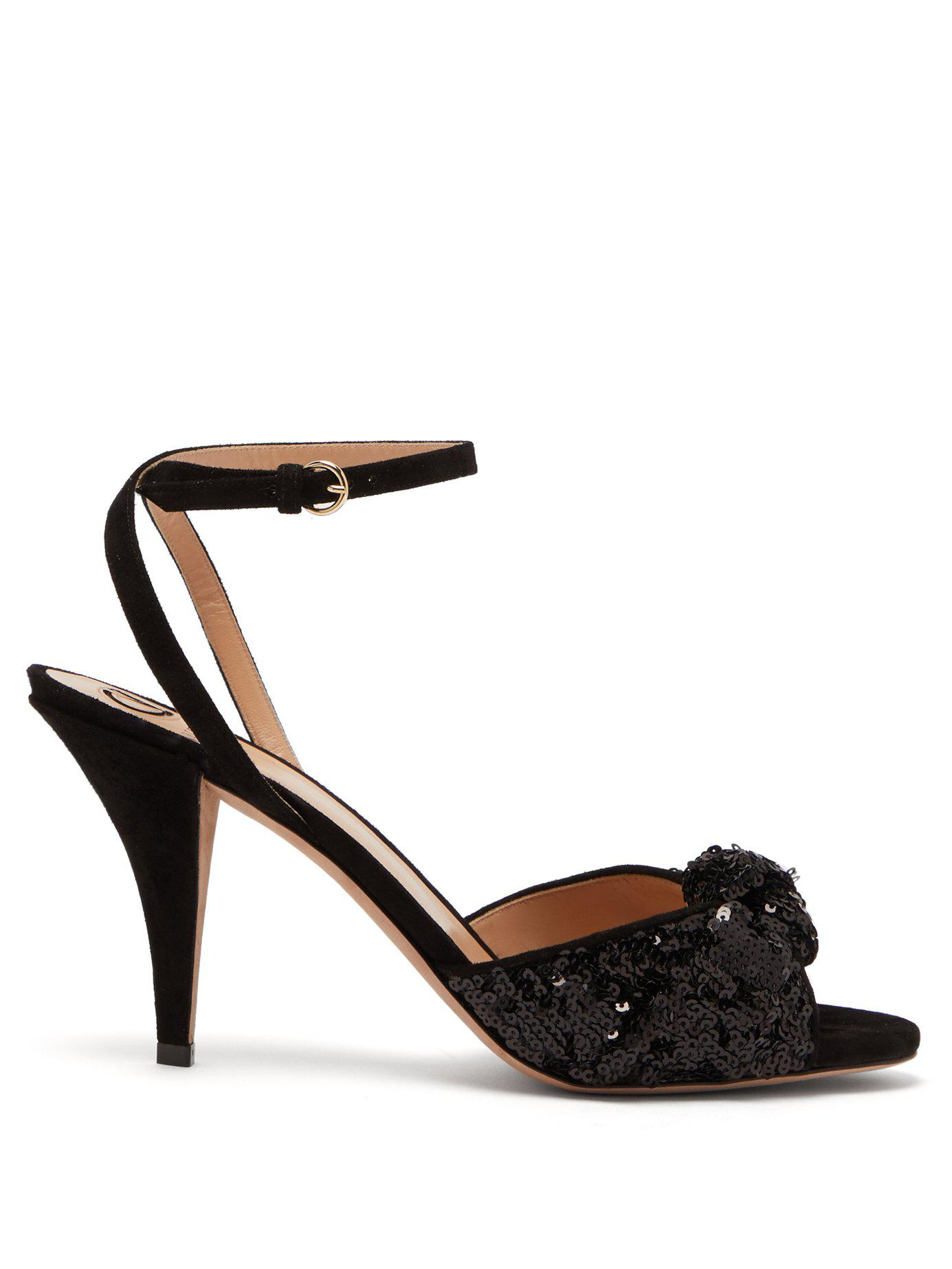 00ee6e51c74c2e Valentino Liquid Metal Glow Sequin Embellished Sandals in Black - Lyst