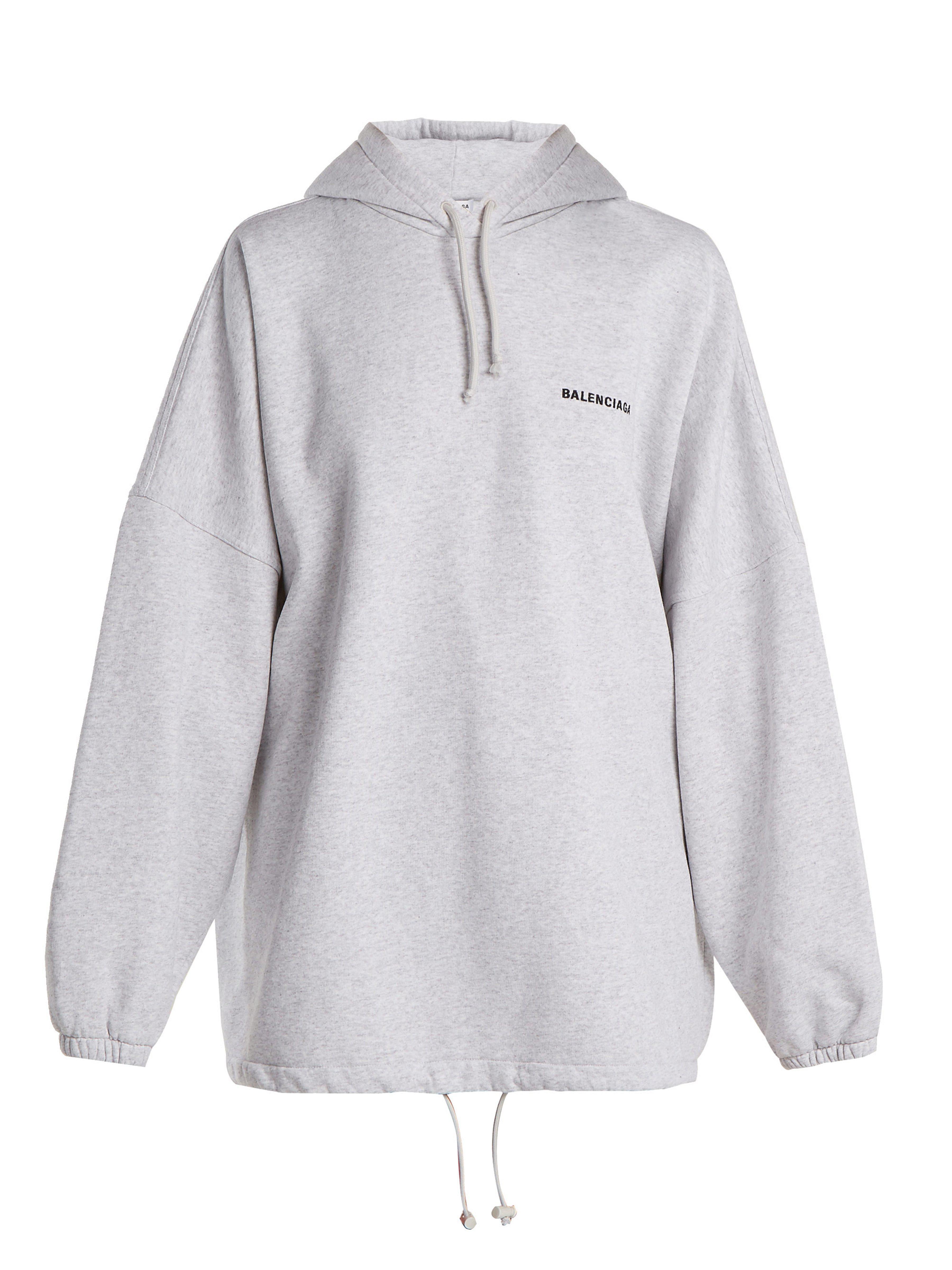 246f13ba2592 Balenciaga - Gray Oversized Cotton Blend Hooded Sweatshirt - Lyst. View  fullscreen
