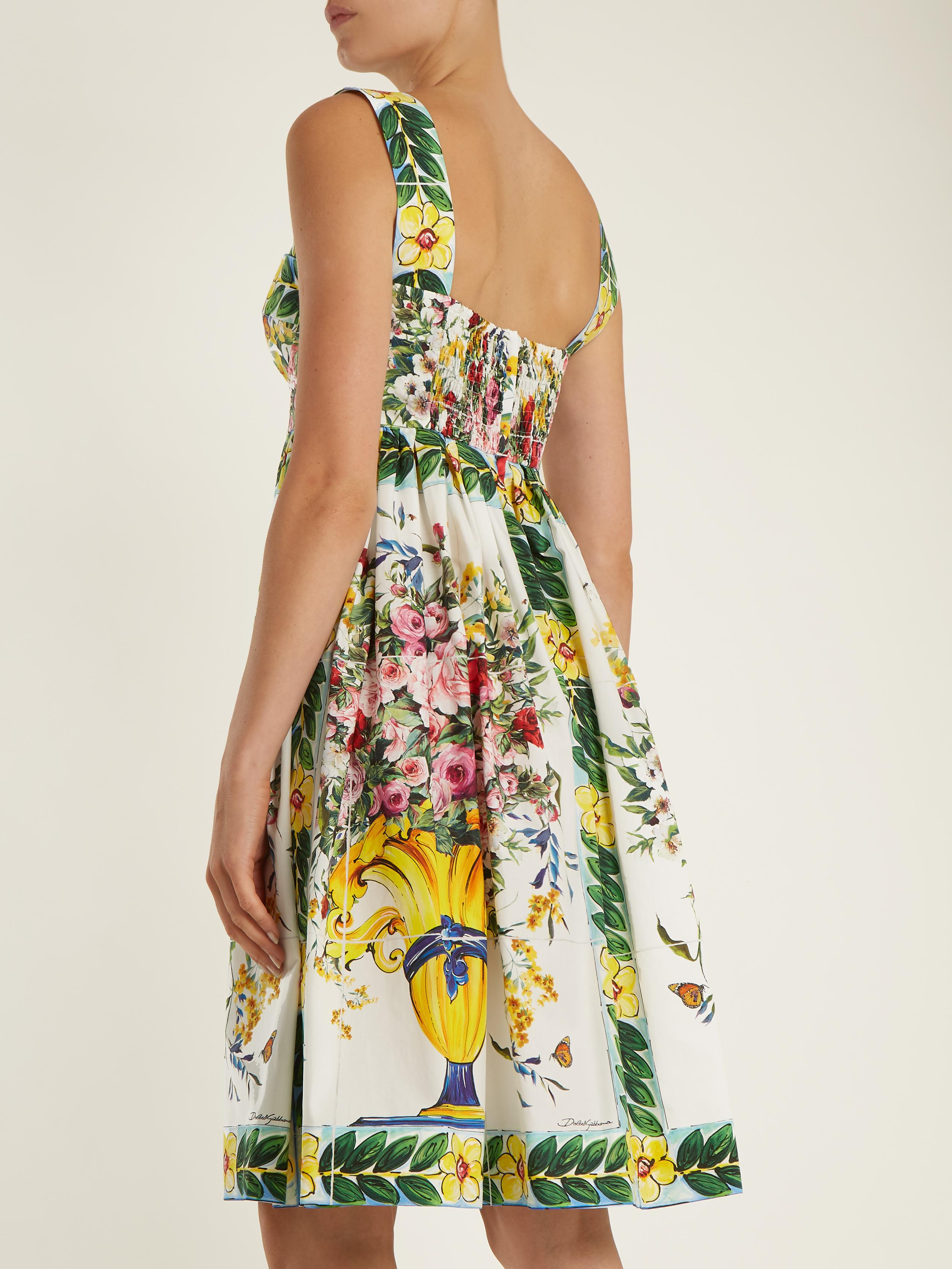a73ea955 Dolce & Gabbana Floral-print Gathered-skirt Cotton-poplin Dress in ...
