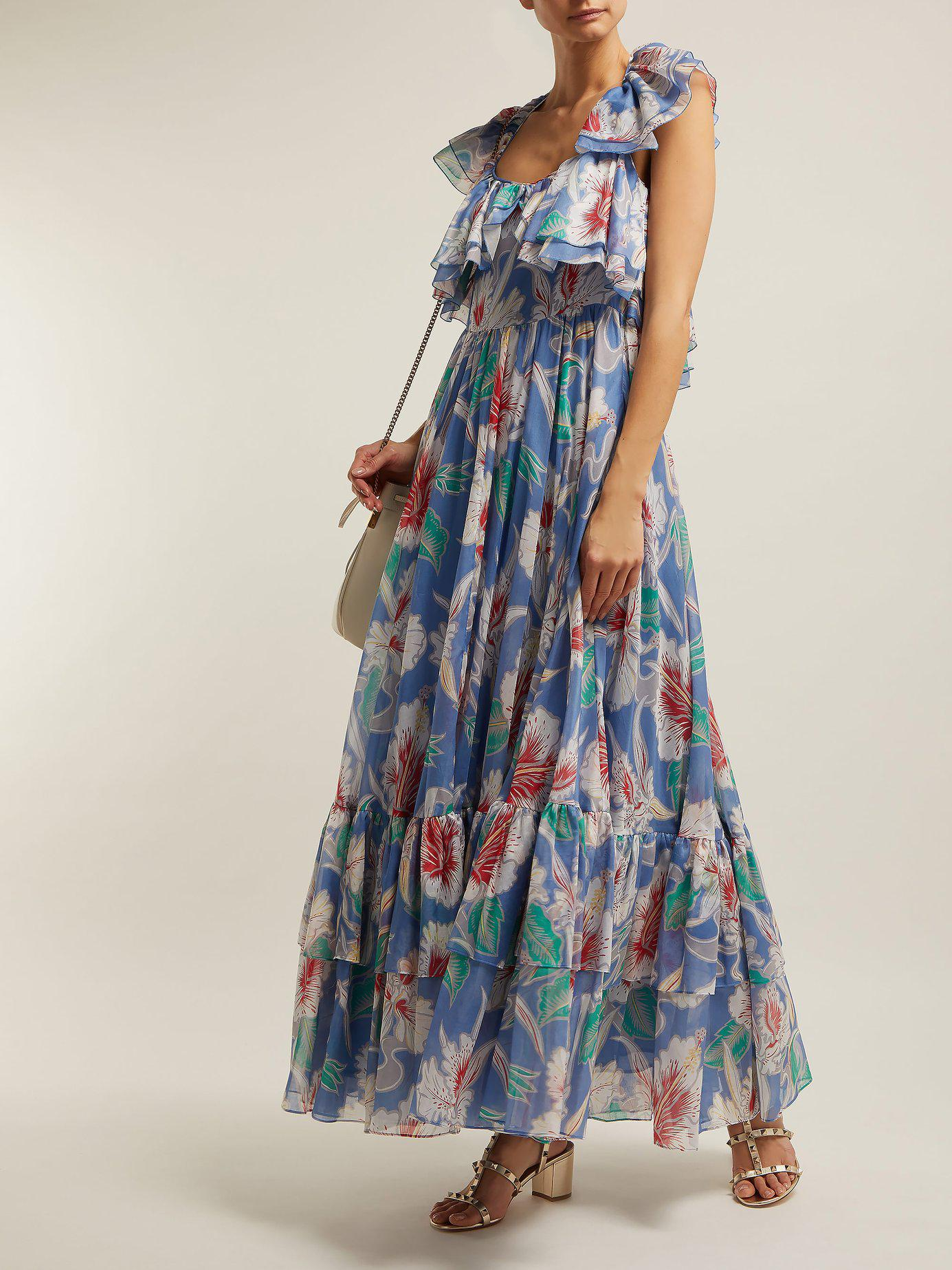 1eaee9dcecf5 Lyst - Valentino Hibiscus Print Cotton Maxi Dress in Blue