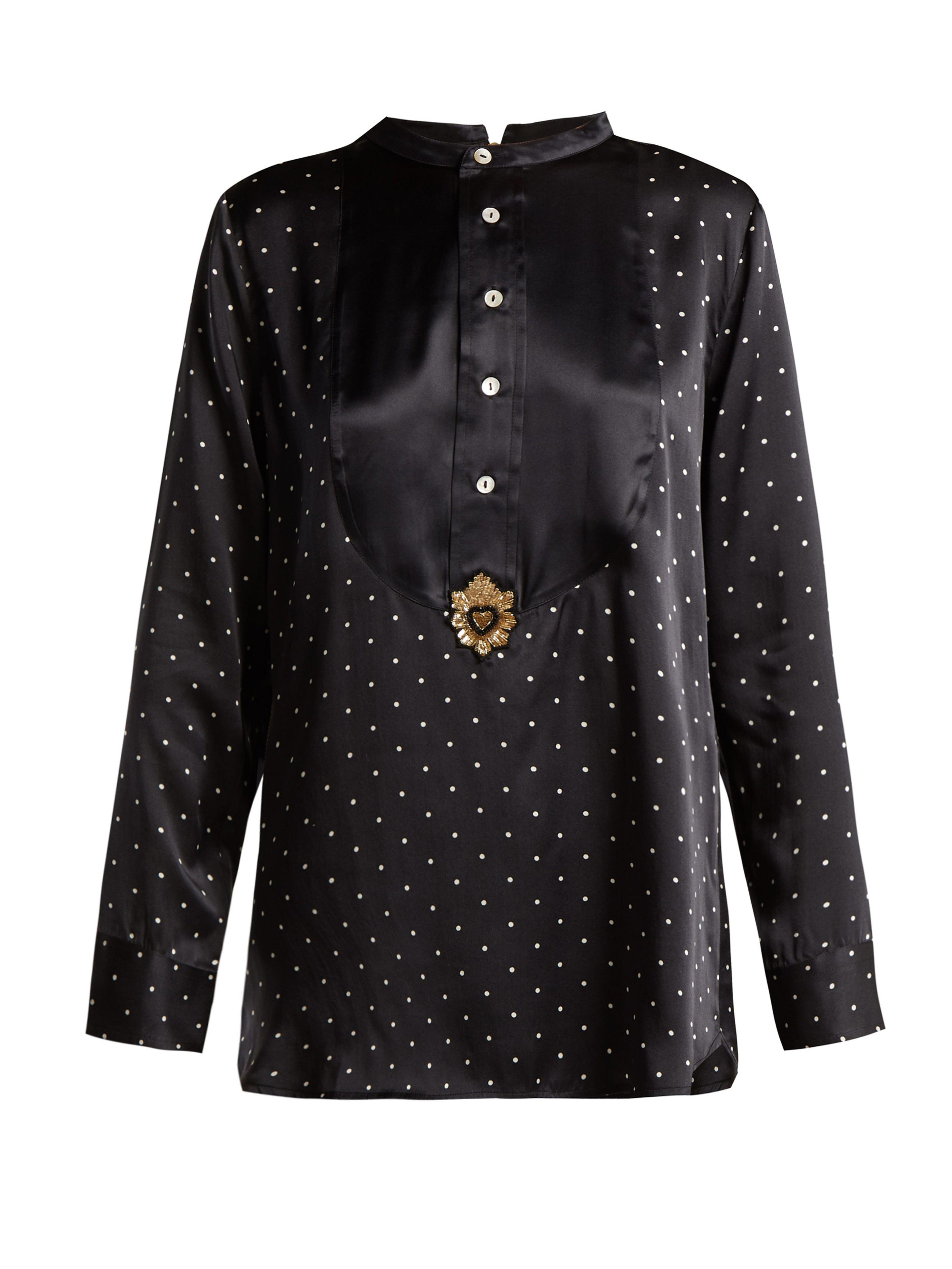 Figue – Milagro Polka Dot Print Silk Satin Shirt – Womens – Black