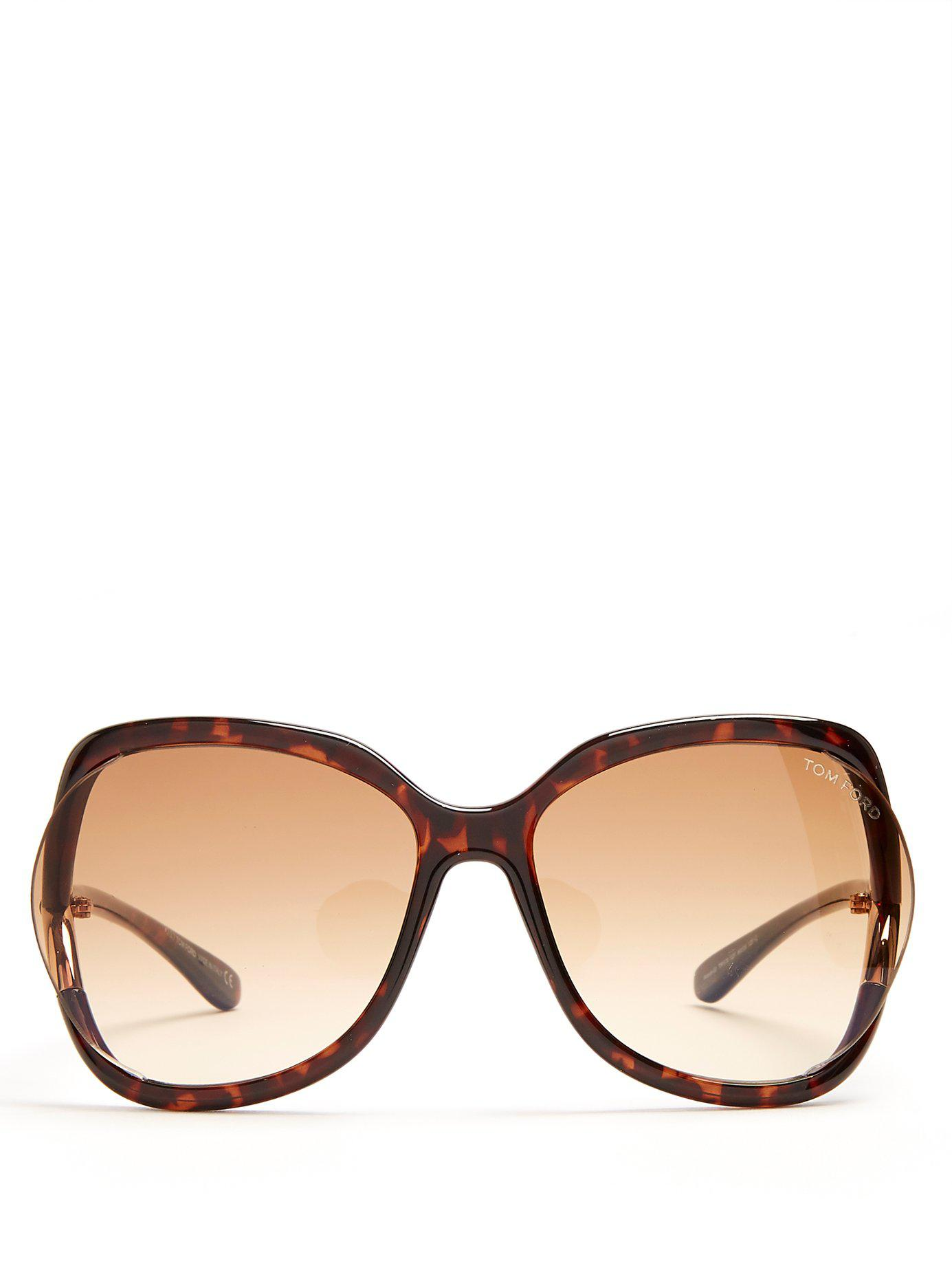 4d47953177 Tom Ford Stephanie Oversized Square-frame Sunglasses in Brown - Lyst