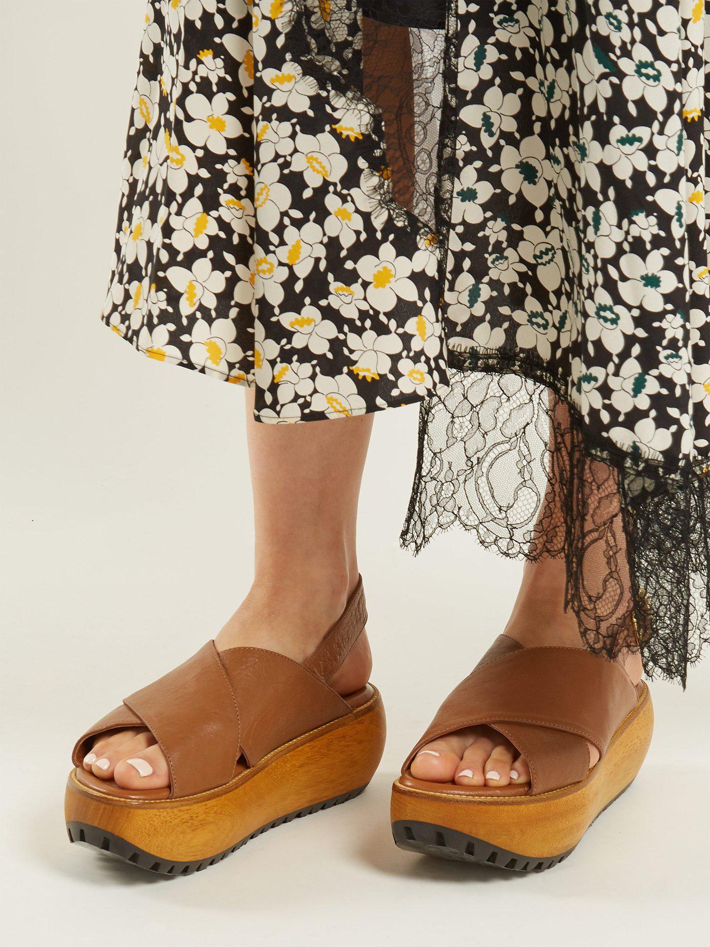 0e7bad4ce5fa Marni - Brown Cross Strap Grained Leather Flatform Sandals - Lyst. View  fullscreen