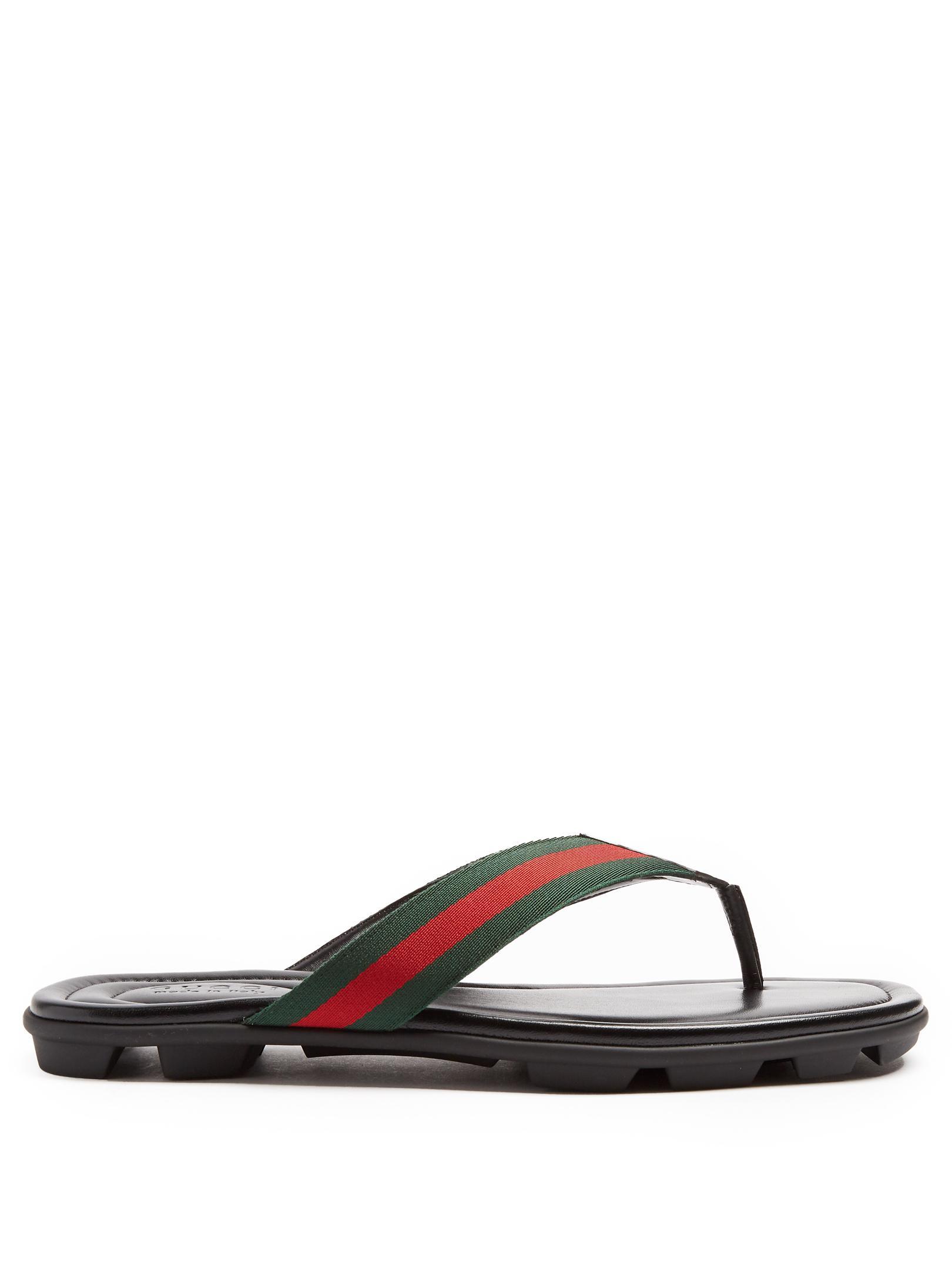 f806a3b35078 Lyst - Gucci Titan Web-striped Flip-flops in Black for Men