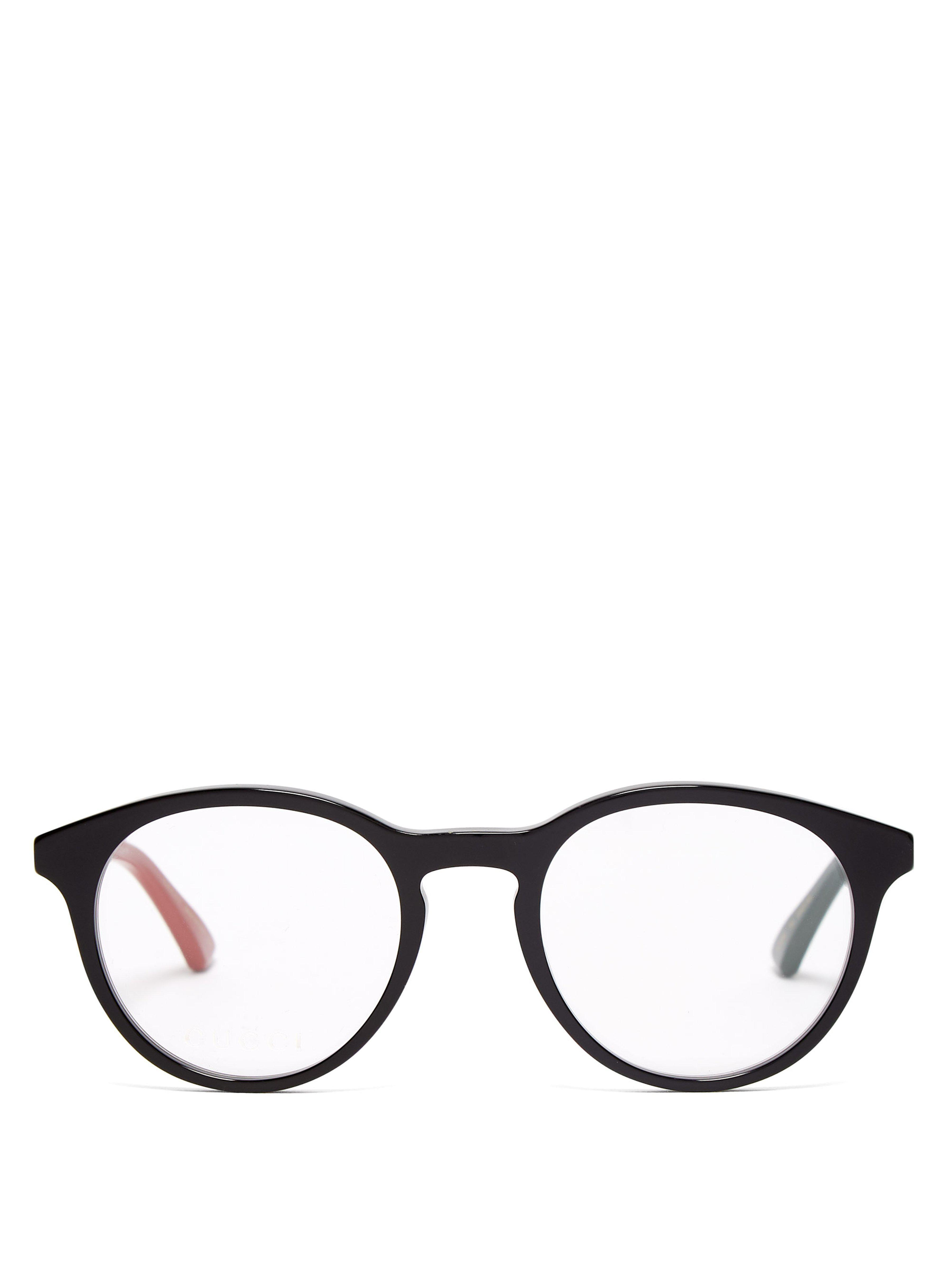 8ceda54171 Gucci Round Frame Acetate Glasses in Black for Men - Lyst