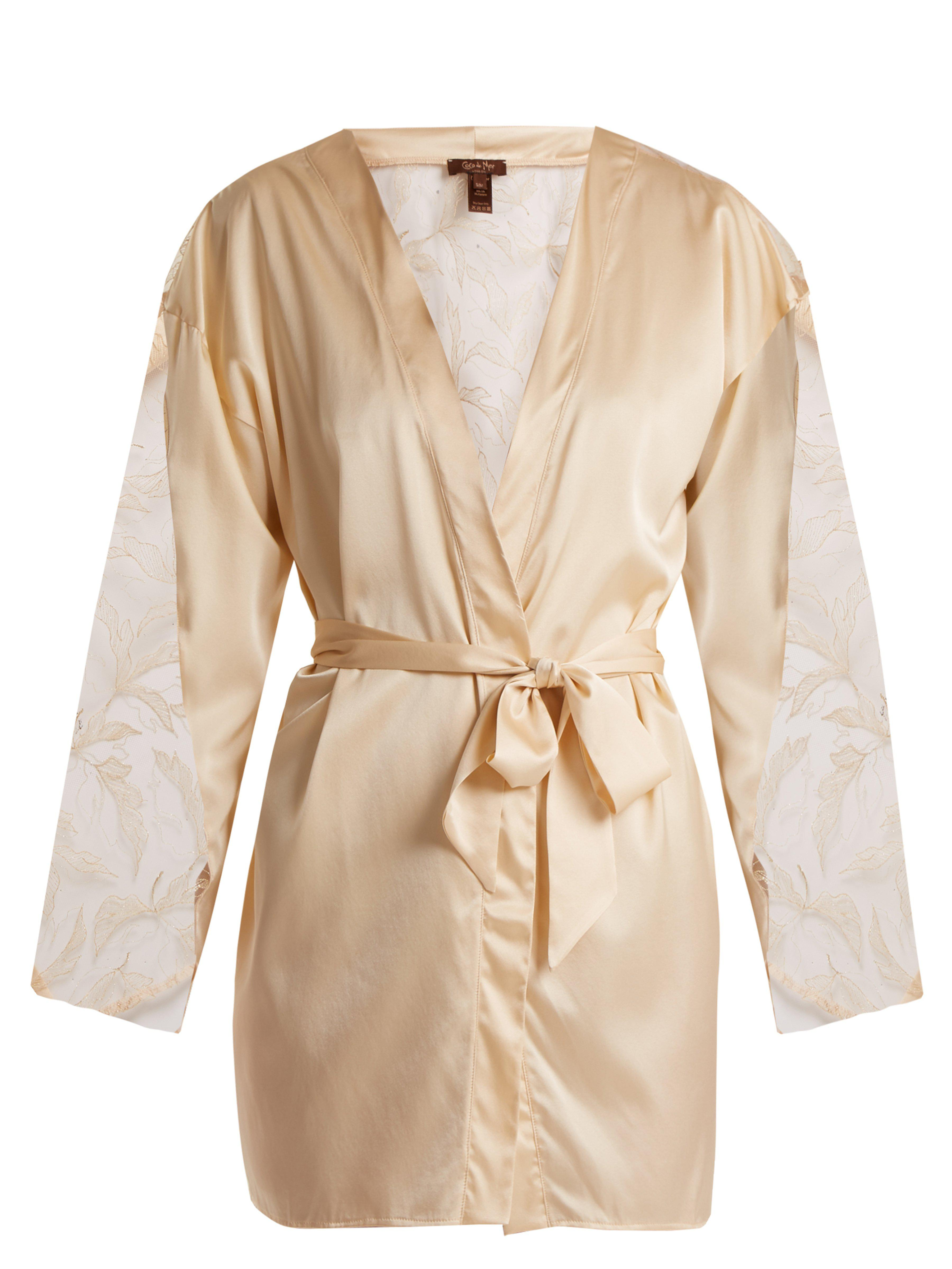 Coco De Mer Wonderland Lace Insert Silk Blend Robe in Natural - Lyst c8dae94ce
