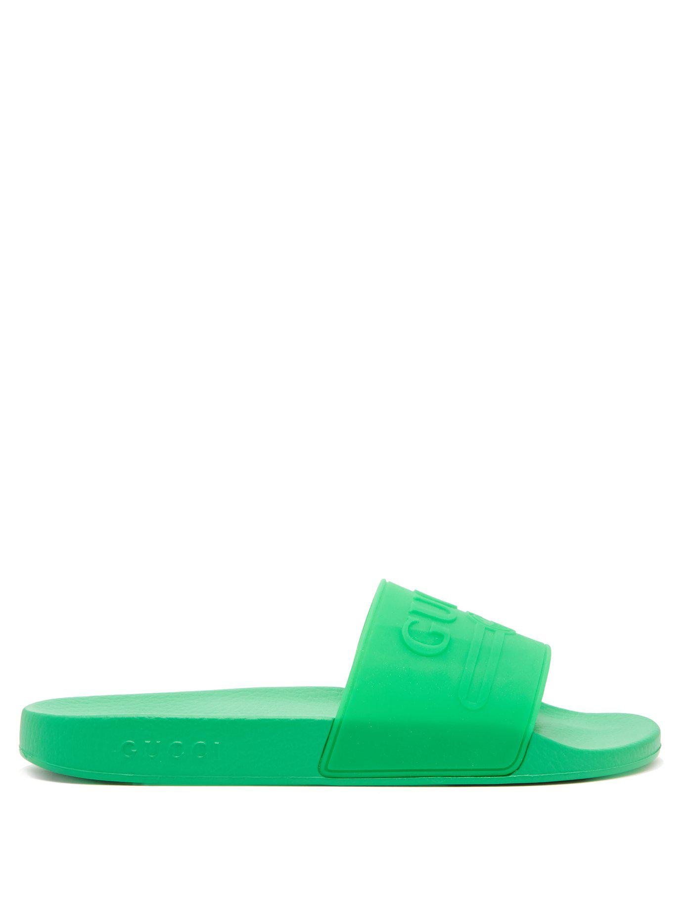 27827218ca7 Lyst - Gucci Pursuit Rubber Slides in Green for Men