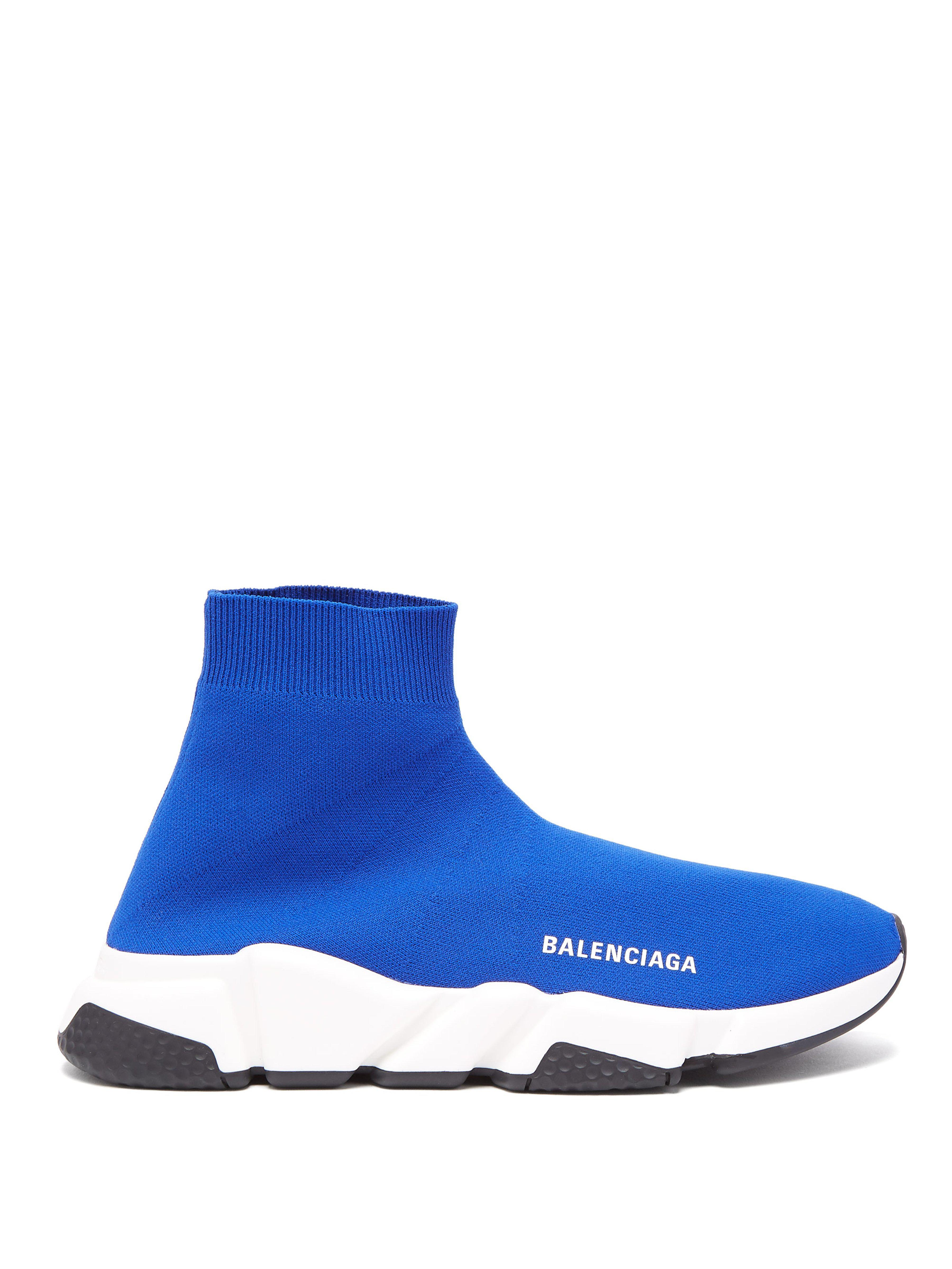 83d51b2a3a76 Balenciaga Blue And White Speed Sock Sneakers in Blue - Save 15% - Lyst