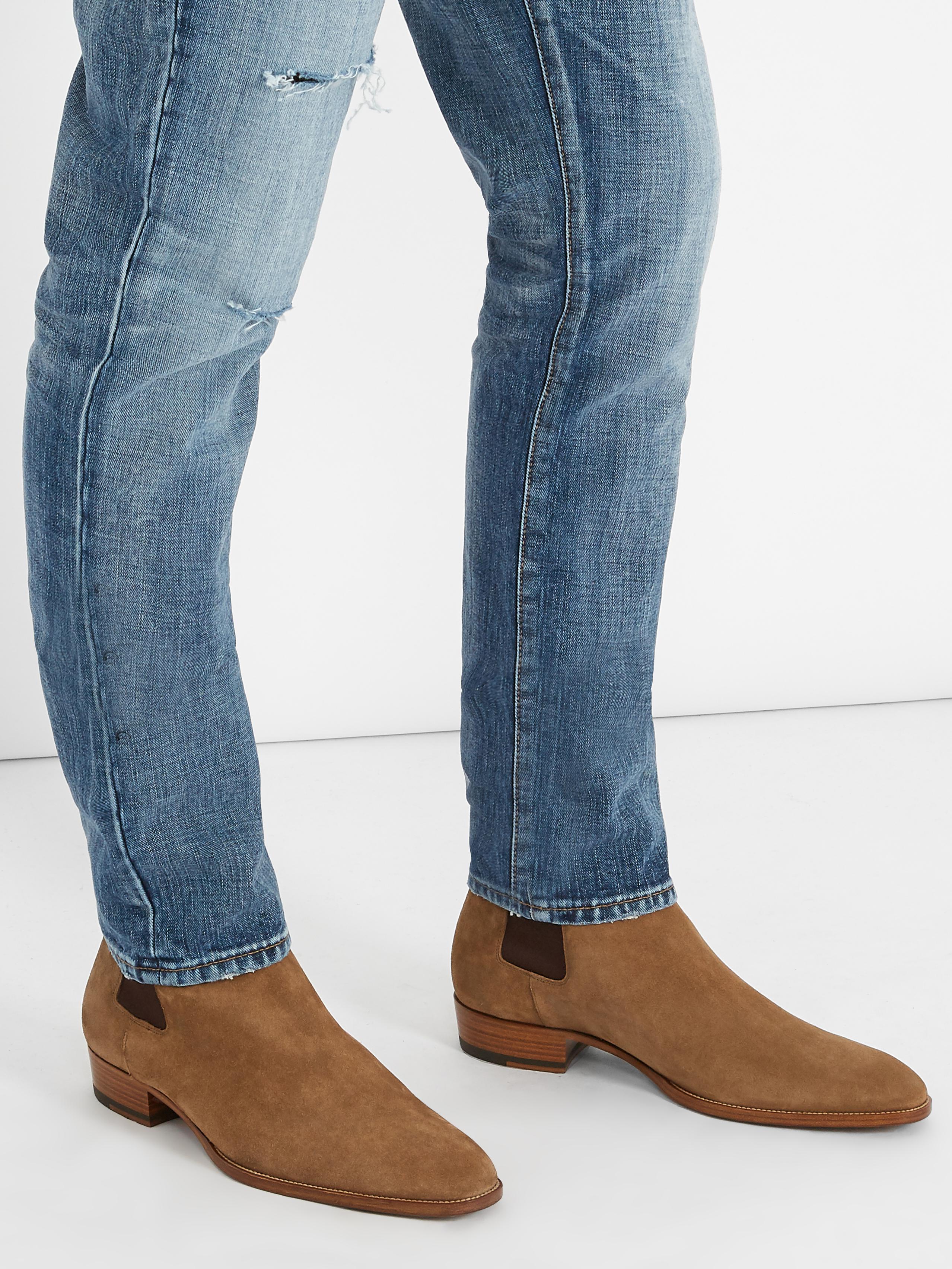 372e79ebcccc Lyst - Saint Laurent Wyatt Suede Chelsea Boots in Brown for Men