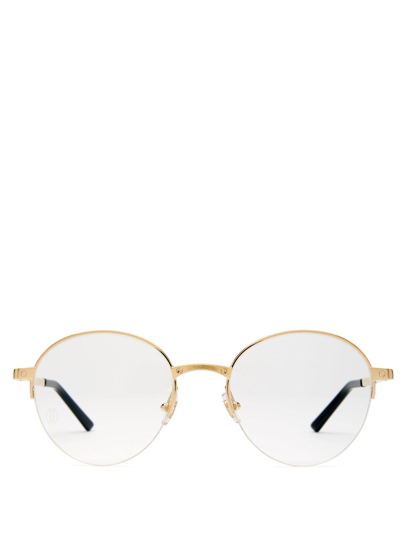 3c2df24bb718 Lyst - Cartier Santos De Cartier Round Frame Glasses in Metallic for Men