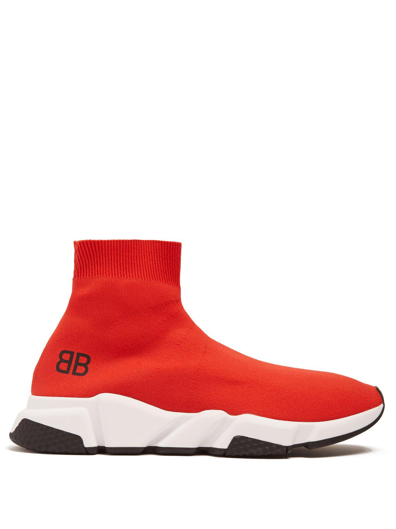 d5571381d3b6 Lyst - Balenciaga Men s Speed Mid-top Trainer Sock Sneakers Red in ...