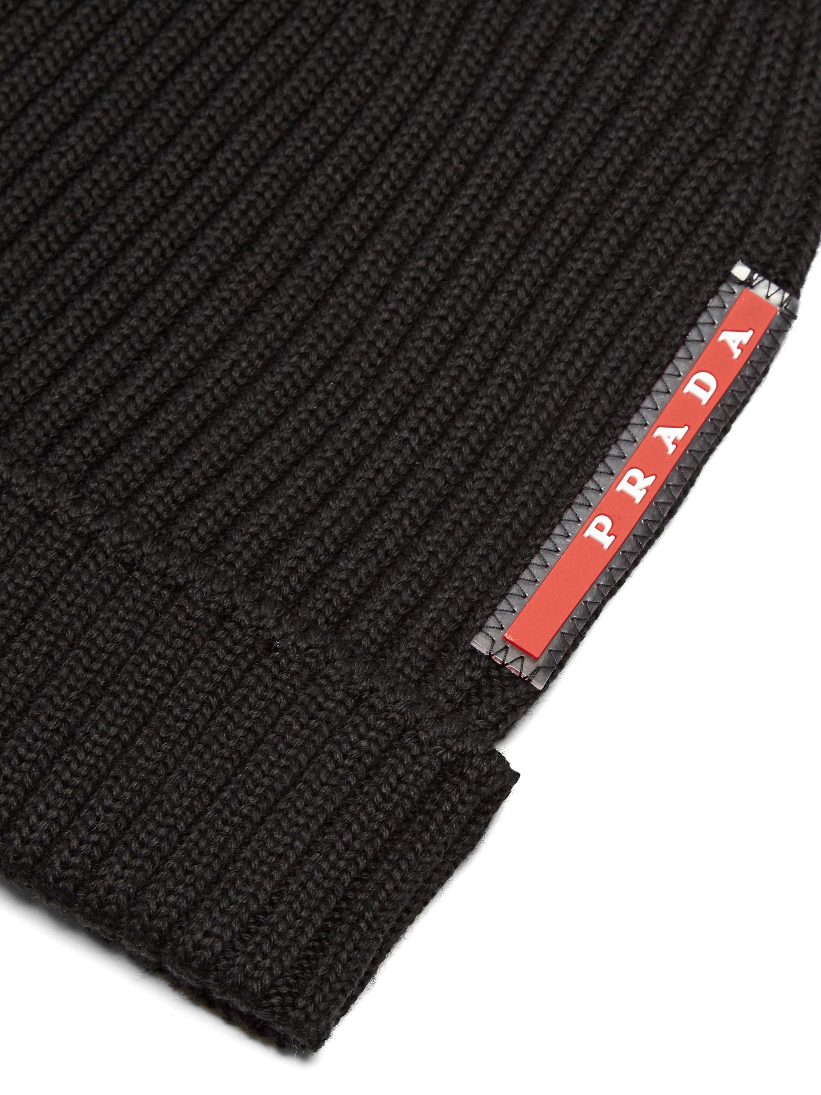 Prada Ribbed-knit Beanie Hat in Black for Men - Lyst f966fb92bf1
