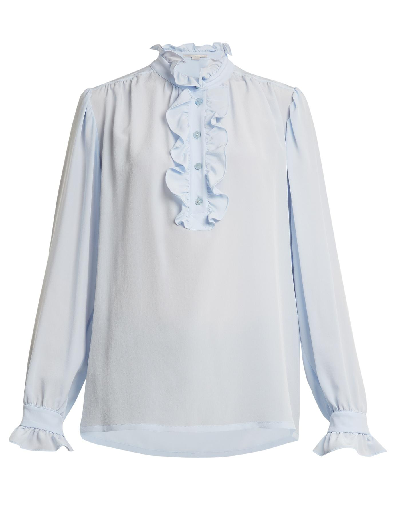 Ruffled-collar silk-crepe blouse Stella McCartney Cheap Sale Big Discount Buy Cheap Fashion Style Clearance Extremely Wiki Popular 1pO7Arekz