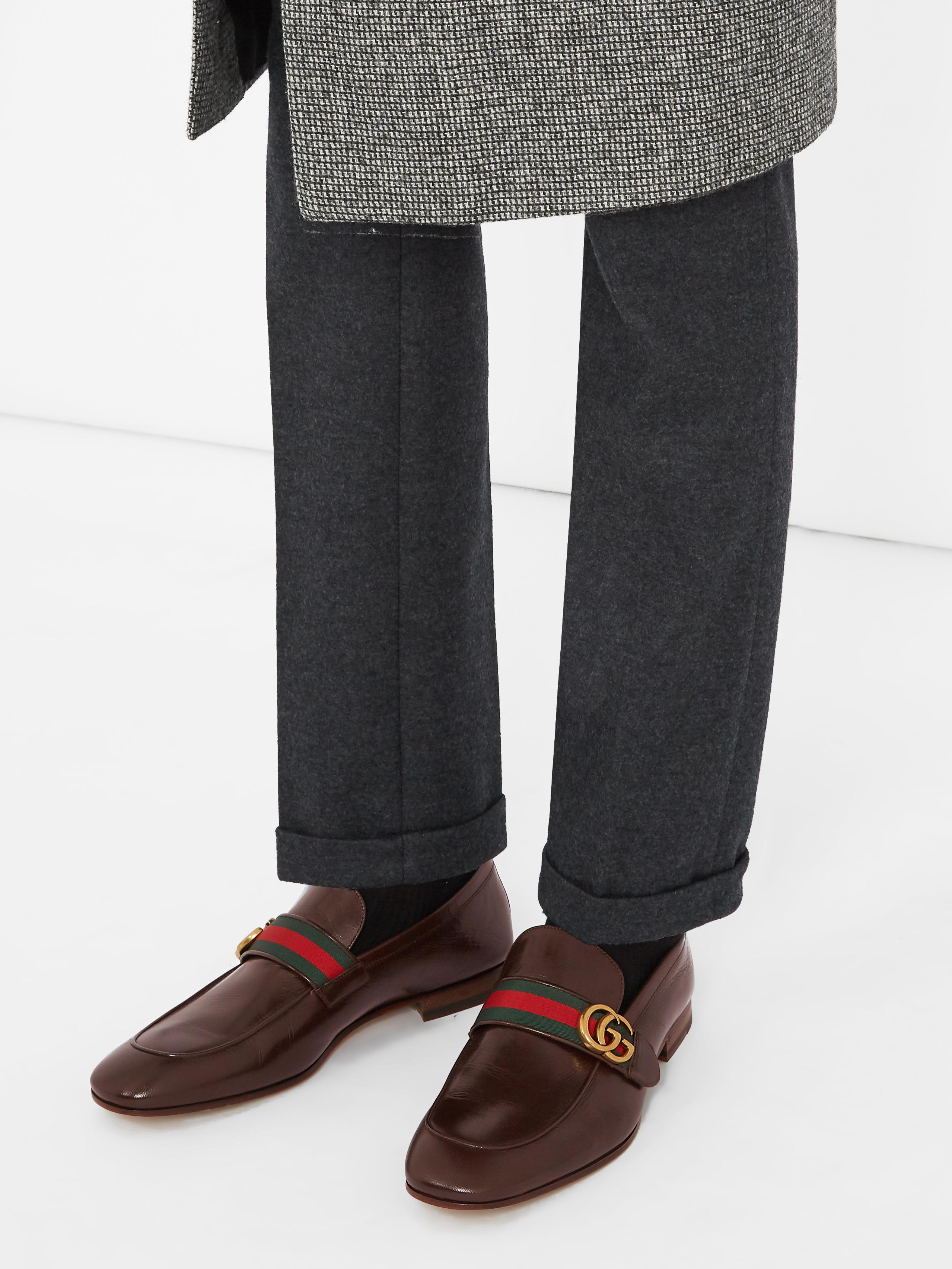 1c3ff17b2c3 Lyst - Gucci Donnie Gg Leather Loafers in Brown for Men