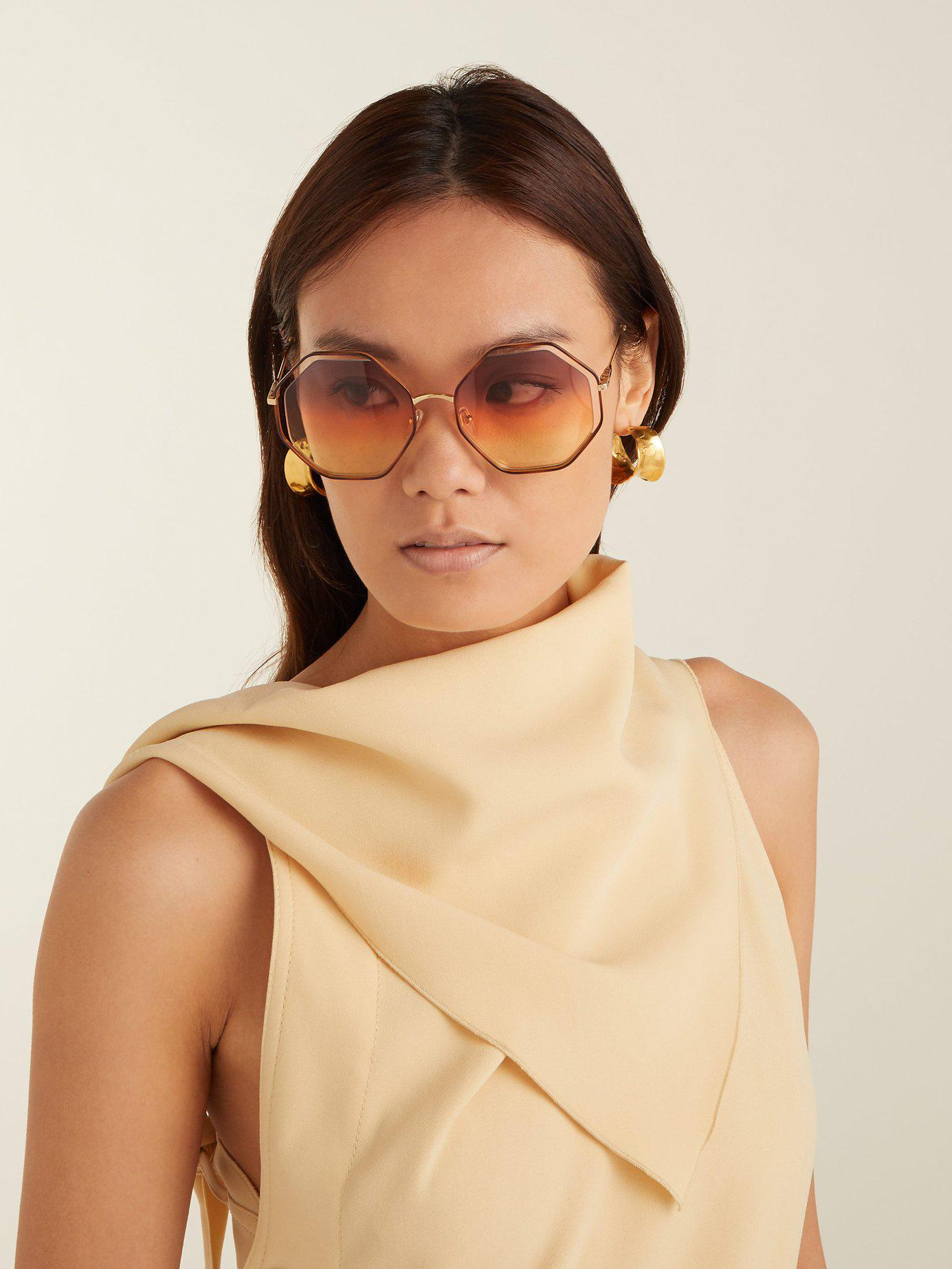 53edccf5130 Lyst - Chloé Poppy Octagon Frame Sunglasses in Brown - Save 10%