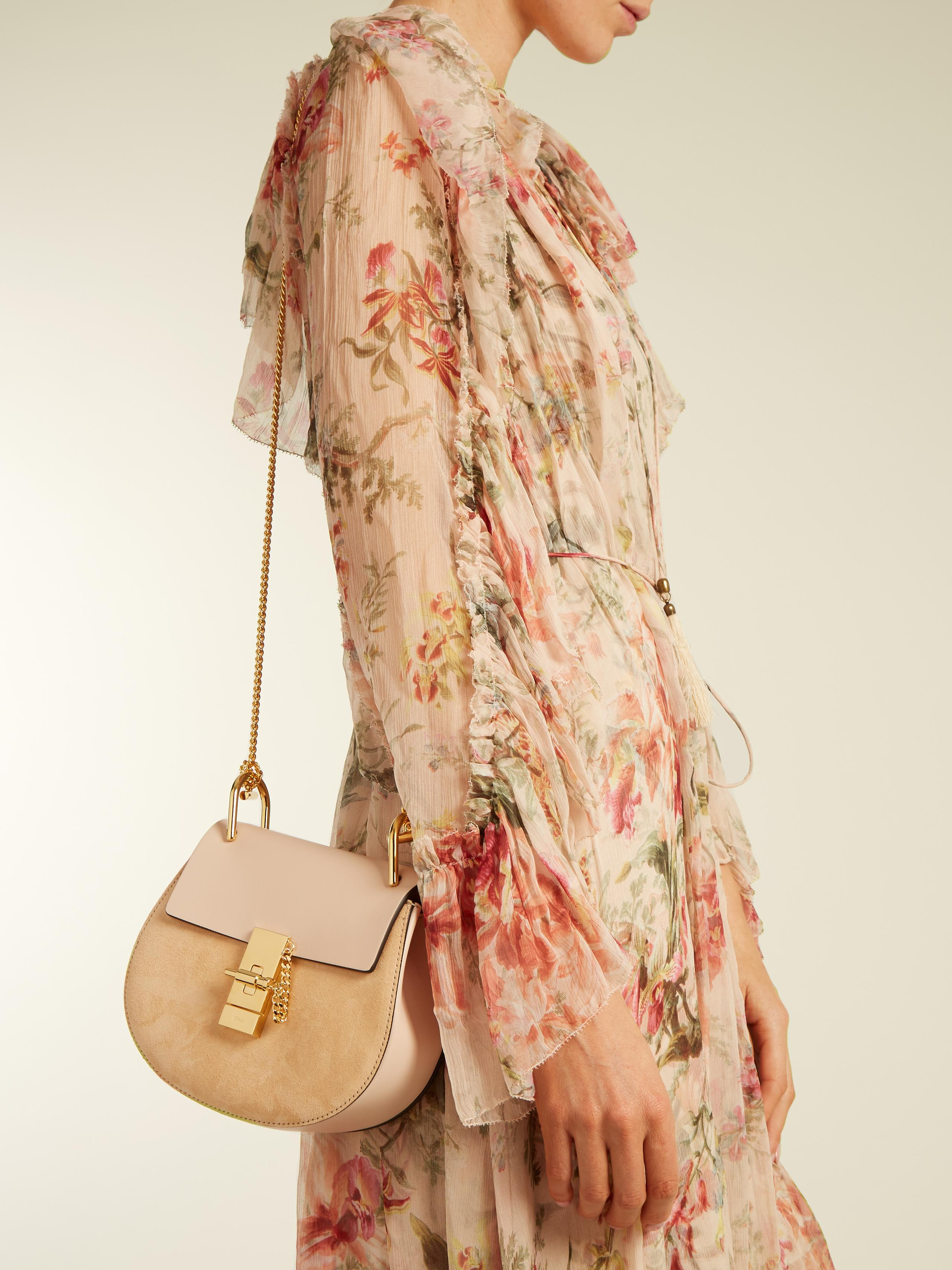 f4f367be88173 Chloé Drew Mini Leather And Suede Cross-body Bag in Pink - Lyst